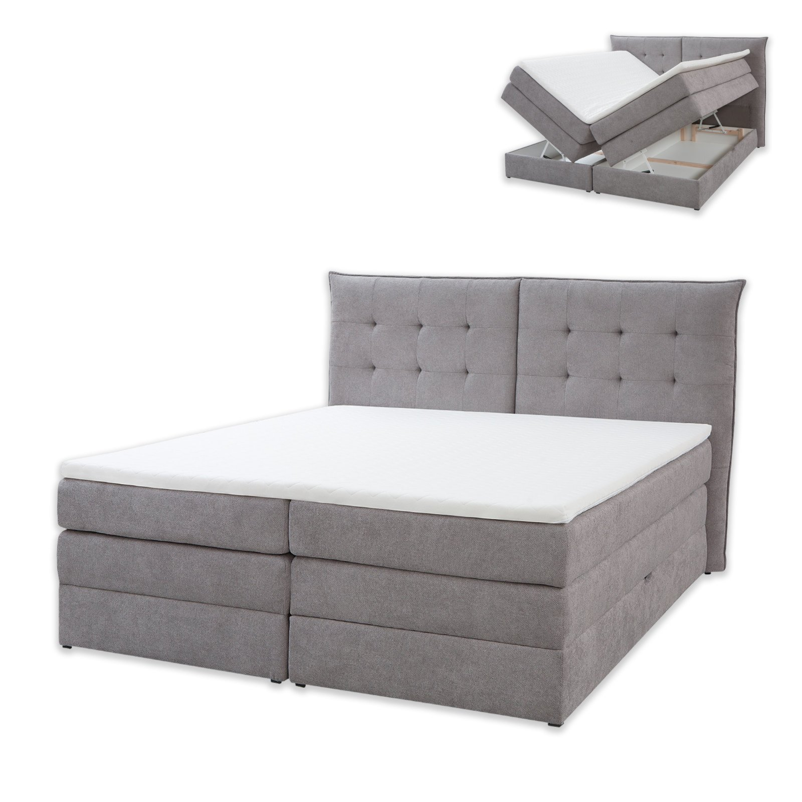 roller boxspringbett fendy grau taschenfederkern 180x200 cm ebay. Black Bedroom Furniture Sets. Home Design Ideas