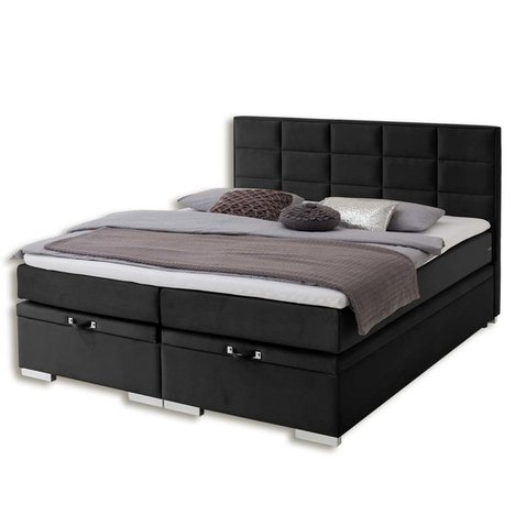 boxspringbett quaddro midi schwarz h3 180x200 cm. Black Bedroom Furniture Sets. Home Design Ideas