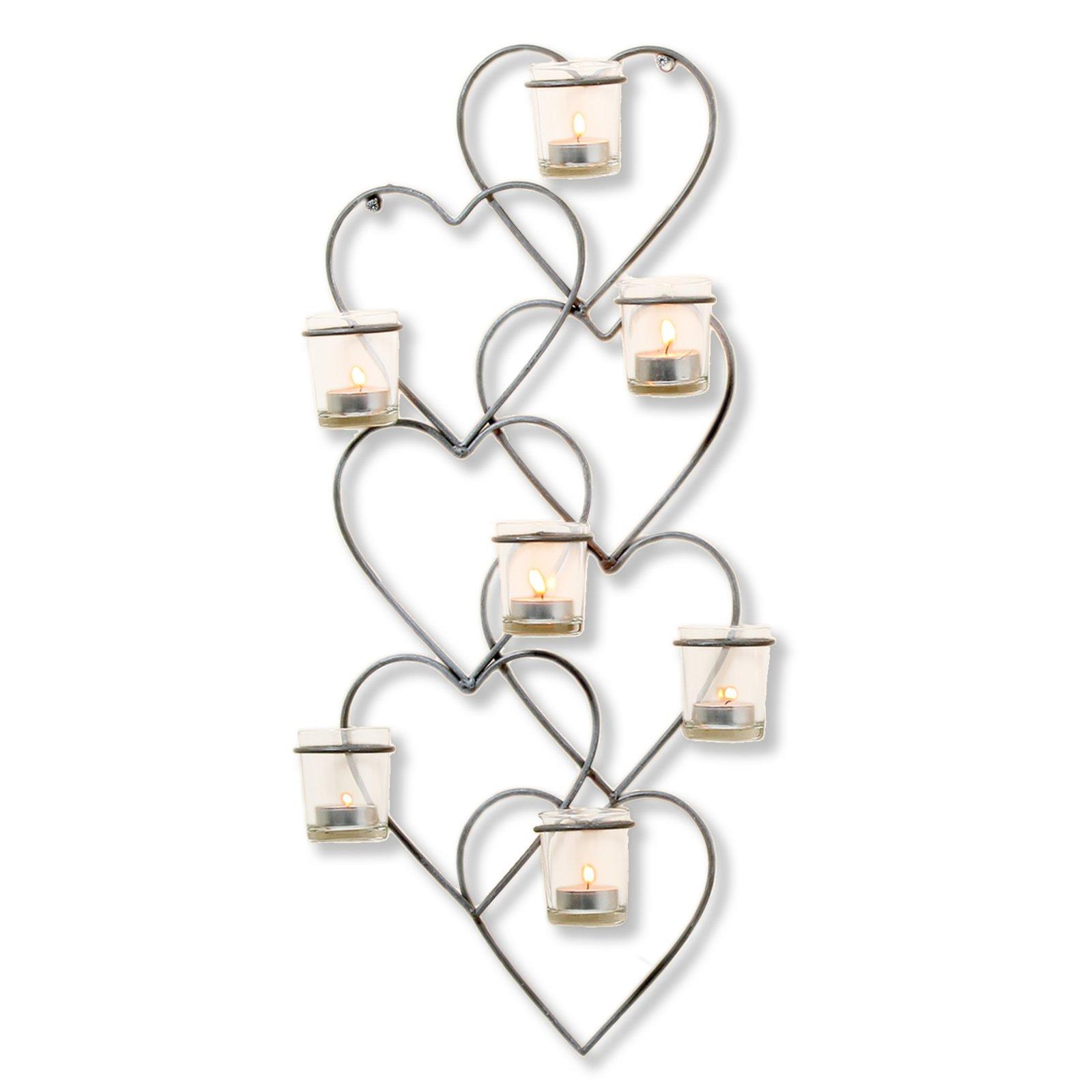 wand teelichthalter anthrazit 7 teelichtgl ser kerzen kerzenhalter deko. Black Bedroom Furniture Sets. Home Design Ideas
