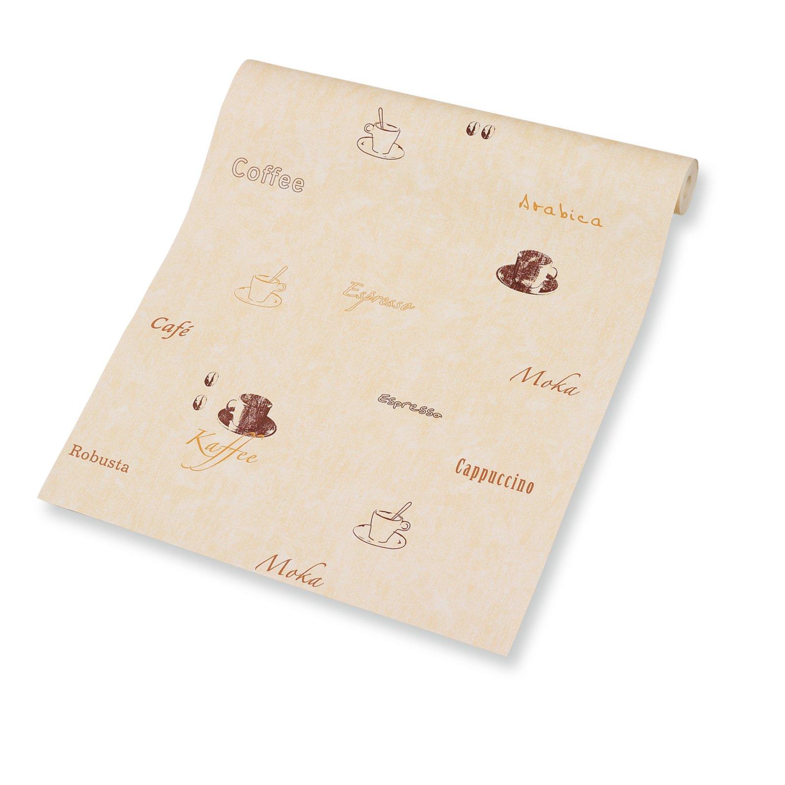 Tapete - beige-braun - Kaffee Motiv  Papiertapeten ...
