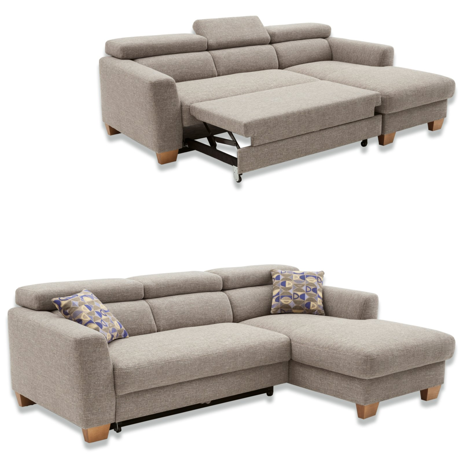 ecksofa grau beige recamiere rechts ecksofas l form sofas couches m bel roller. Black Bedroom Furniture Sets. Home Design Ideas