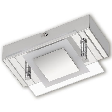 LED-Deckenleuchte - Nickel matt - Glas