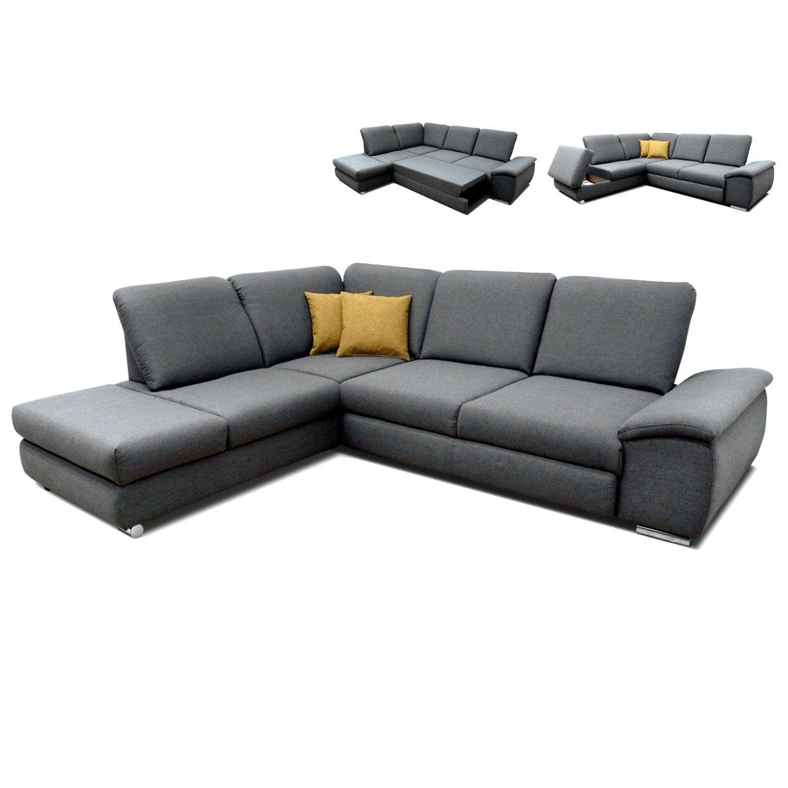 polsterecke grau braun mit funktionen staukasten. Black Bedroom Furniture Sets. Home Design Ideas