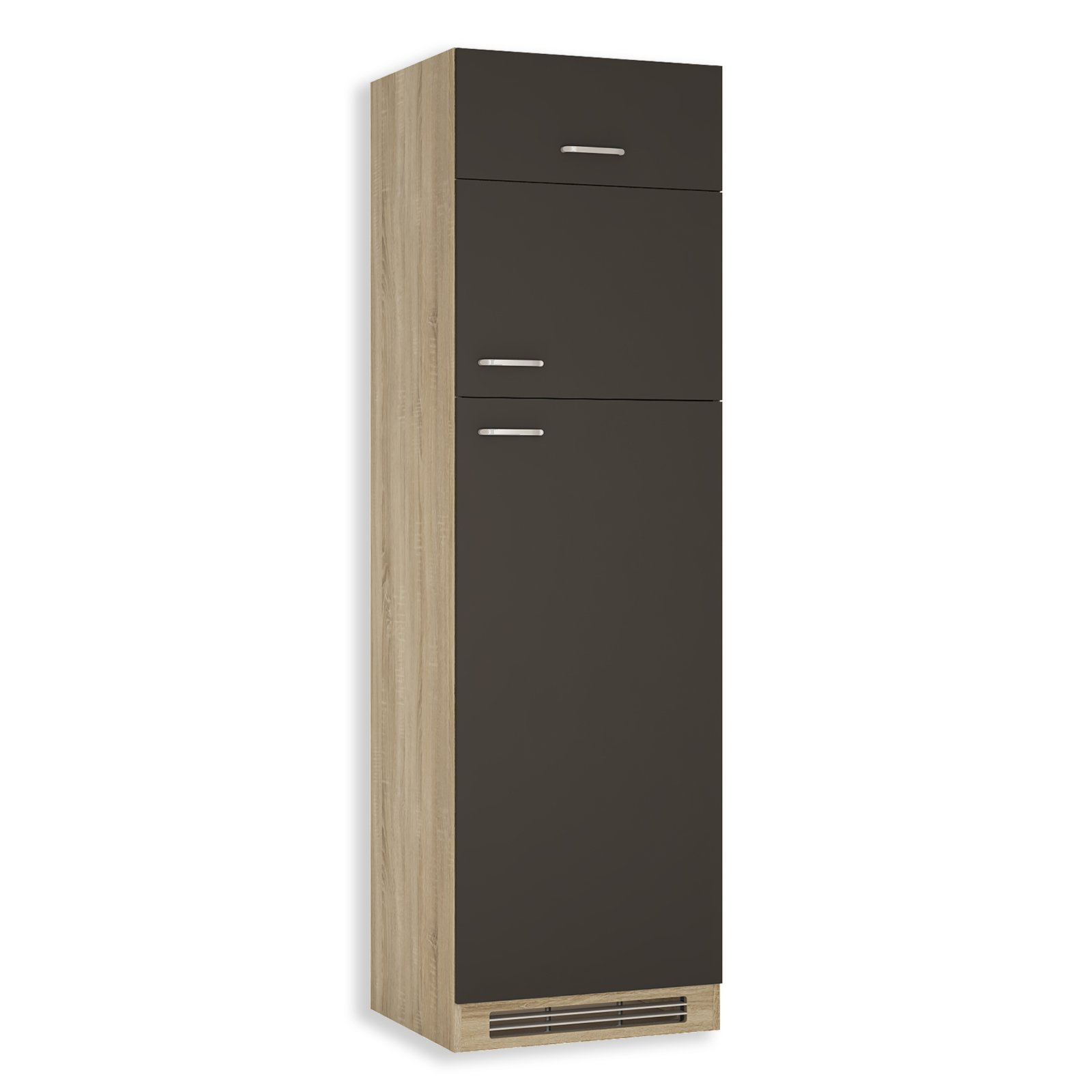 k hlschrankumbau fox anthrazit sonoma eiche 60 cm. Black Bedroom Furniture Sets. Home Design Ideas