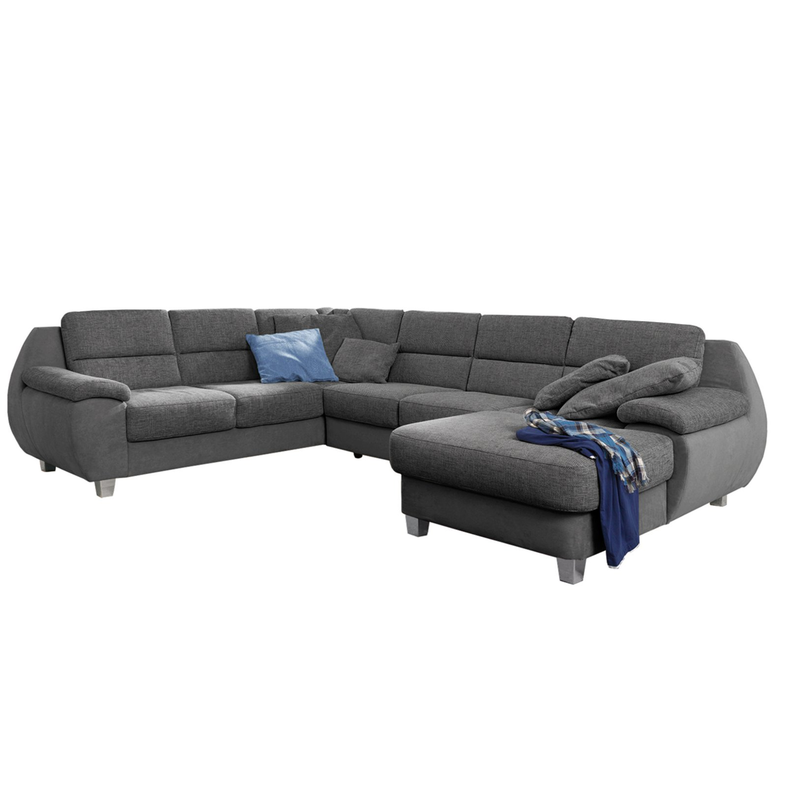 wohnlandschaft grau materialmix wohnlandschaften u. Black Bedroom Furniture Sets. Home Design Ideas