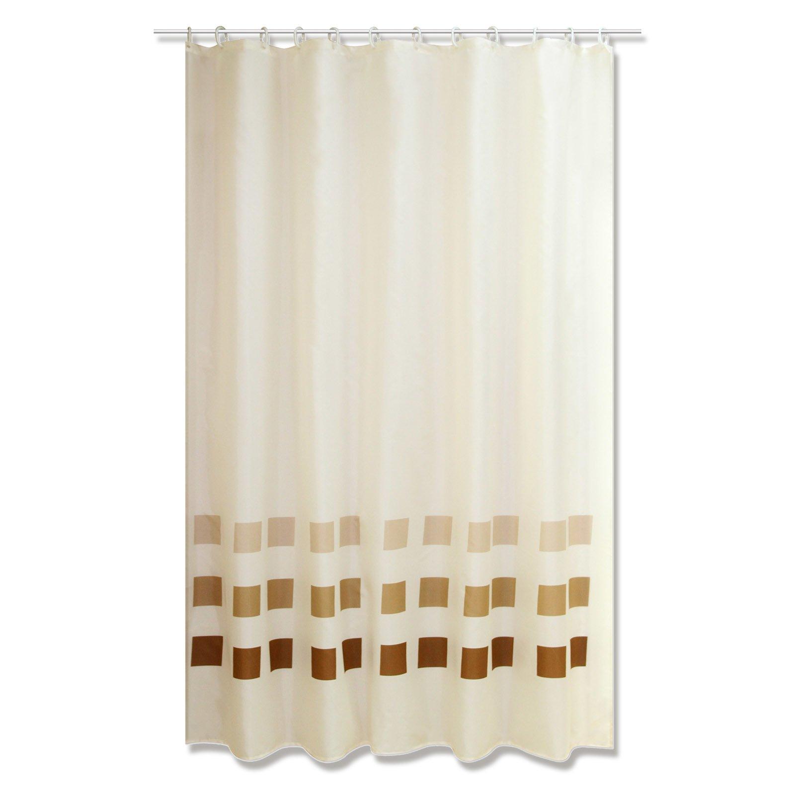 duschvorhang squares beige 180x200 cm duschvorh nge rollos badezimmer wohnbereiche. Black Bedroom Furniture Sets. Home Design Ideas