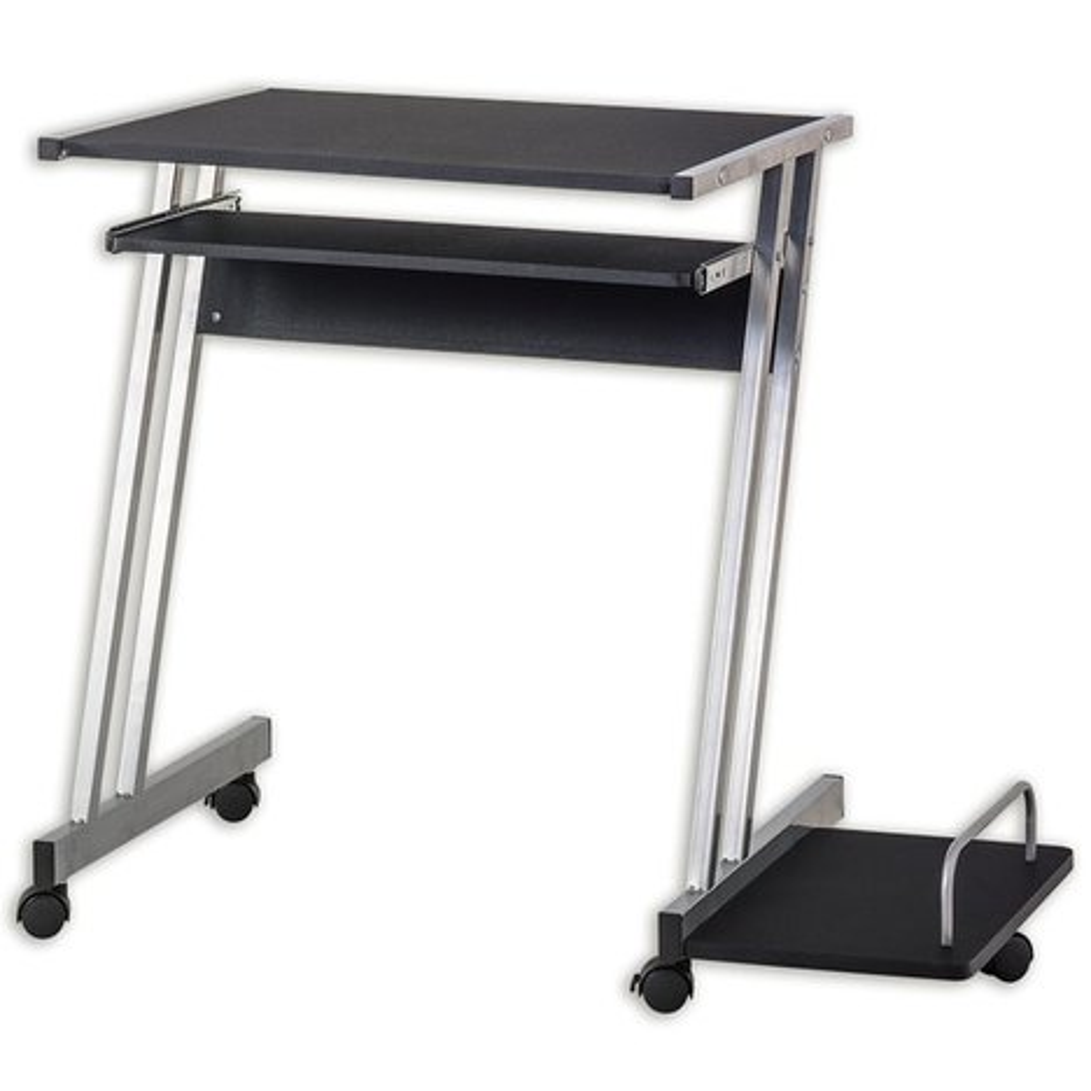 computertisch metalgestell schwarz silber computertische schreibtische m bel roller. Black Bedroom Furniture Sets. Home Design Ideas