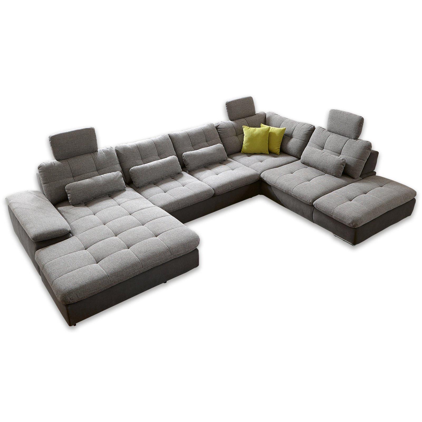 wohnlandschaft silber anthrazit sitztiefenverstellung. Black Bedroom Furniture Sets. Home Design Ideas