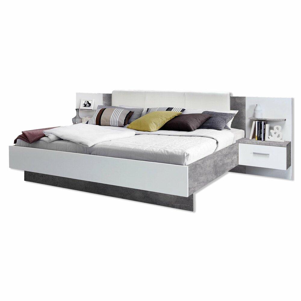 bettanlage ginger wei beton optik 276 cm breit bettgestelle betten m bel roller. Black Bedroom Furniture Sets. Home Design Ideas