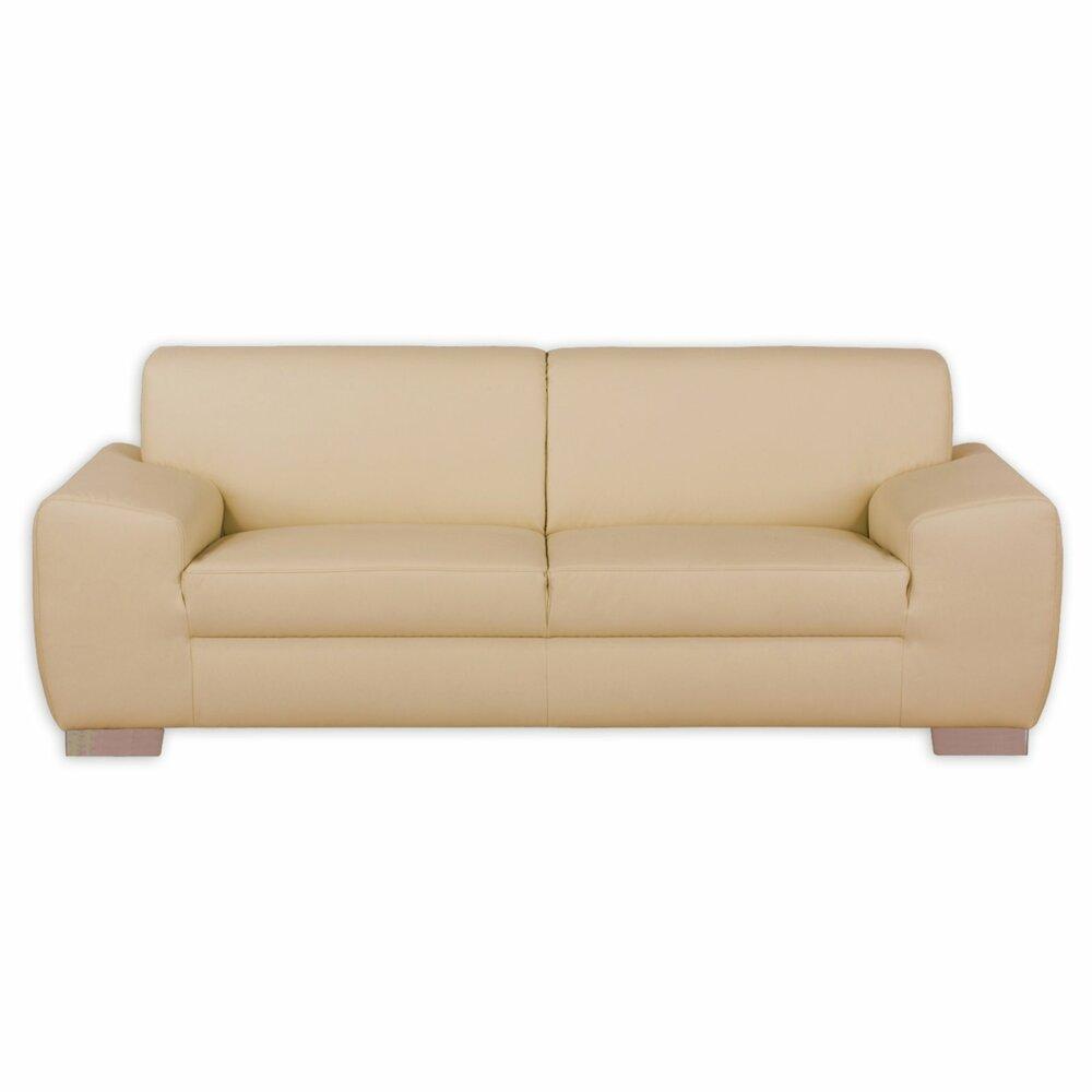 2 sitzer sofa beige mit federkern kunstleder einzelsofas 2er 3er 4er sofas. Black Bedroom Furniture Sets. Home Design Ideas