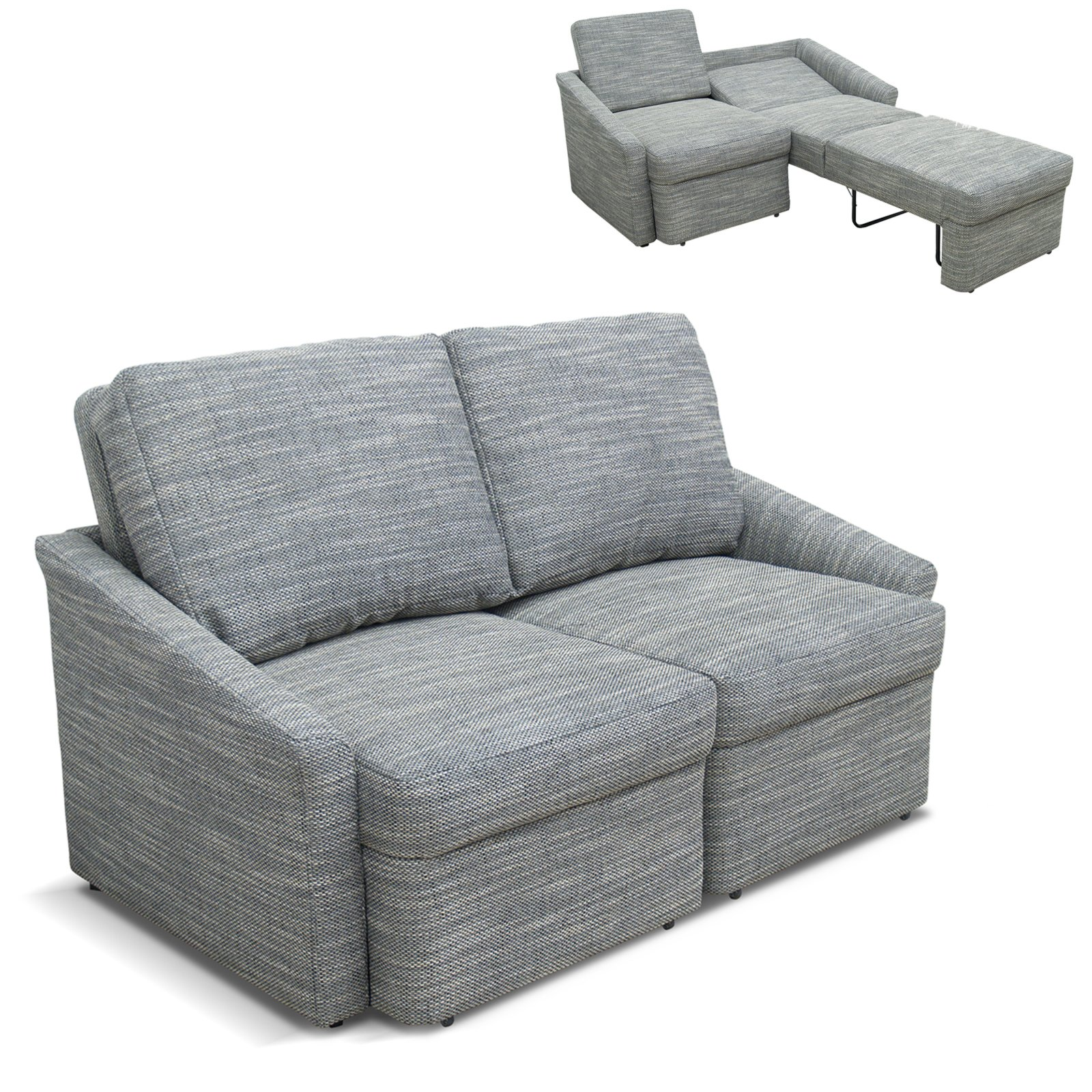 2 Sitzer Boxspringsofa grau weiß mit Liegefunktion