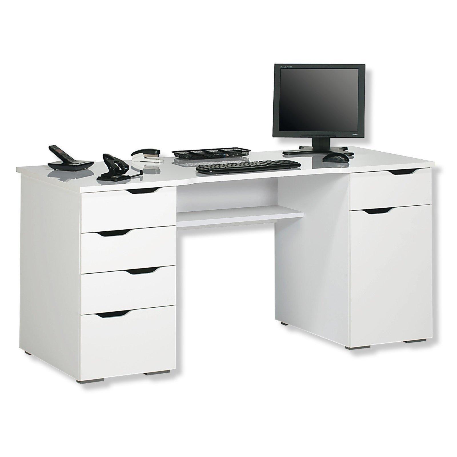 computertisch vago wei hochglanz 158 cm computertische schreibtische m bel roller. Black Bedroom Furniture Sets. Home Design Ideas