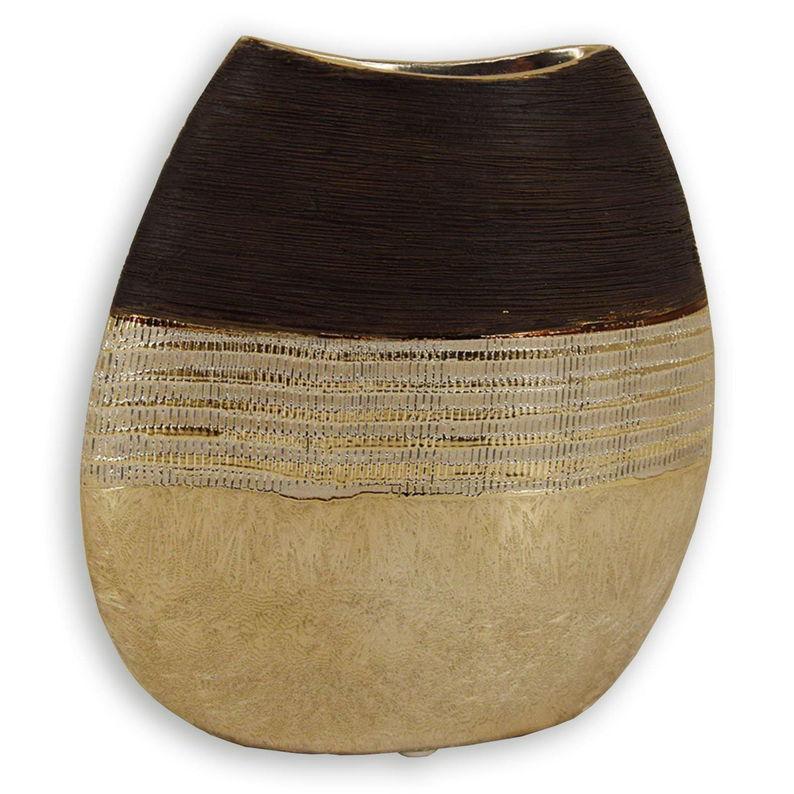Roller deko vase gold braun 20 cm ebay - Roller deko ...