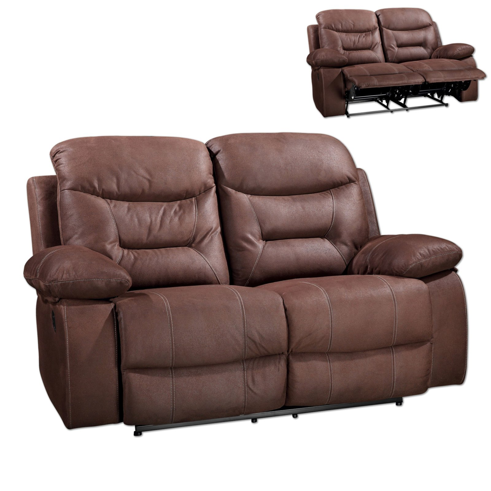 2 sitzer sofa dunkelbraun mit relaxfunktion for 3 sitzer sofa mit relaxfunktion