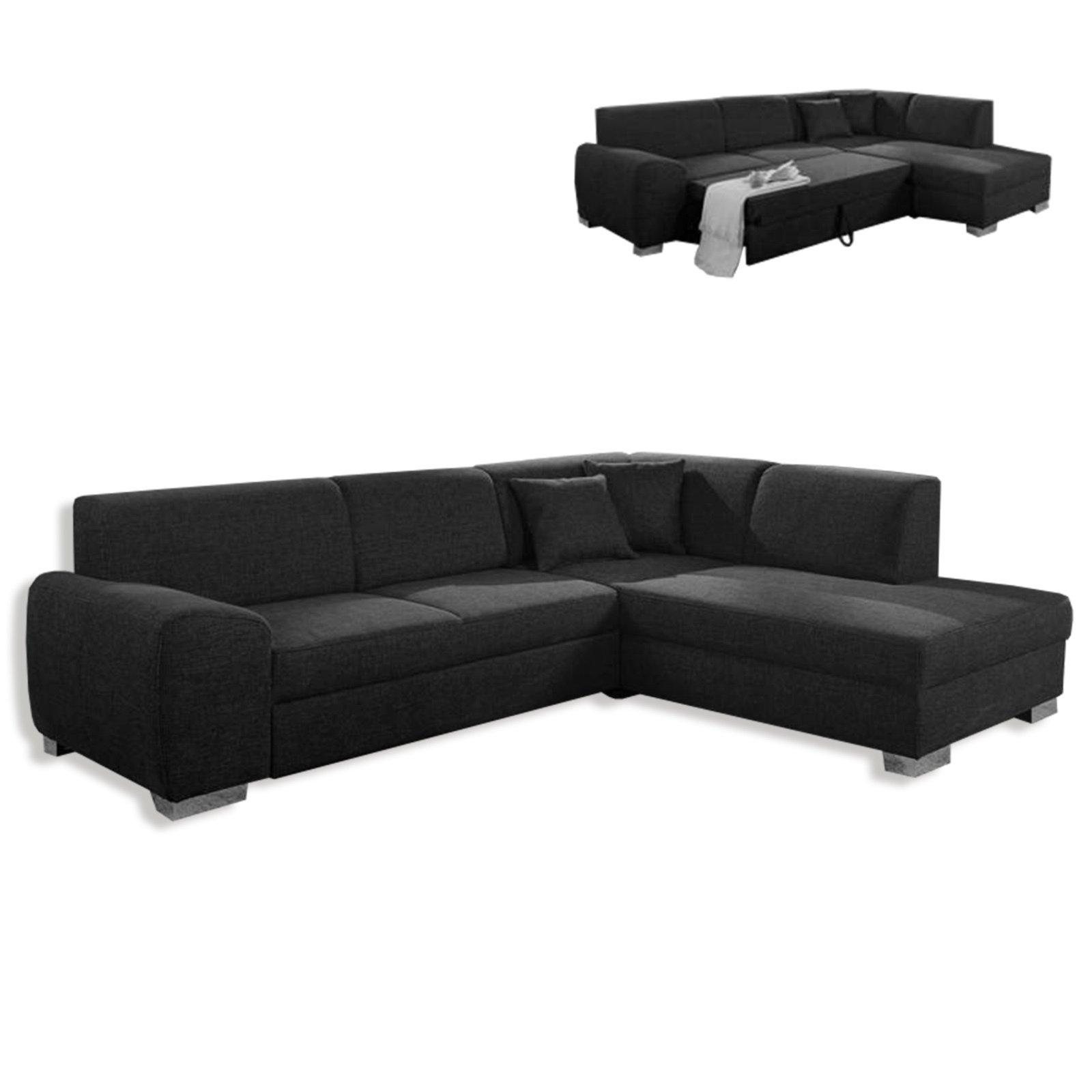 polsterecke schwarz liegefunktion ottomane rechts ecksofas l form sofas couches. Black Bedroom Furniture Sets. Home Design Ideas