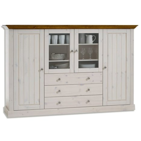 Vitrine MONACO - white wash - Kiefer massiv - 186,5 cm