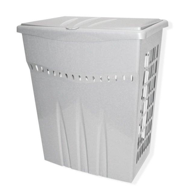 Wäschebox - silber - Klappdeckel - 60 Liter