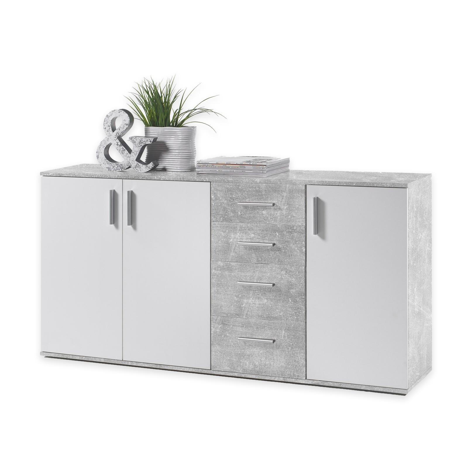Kommode Weiss Beton Optik 160 Cm Breit Online Bei Roller Kaufen