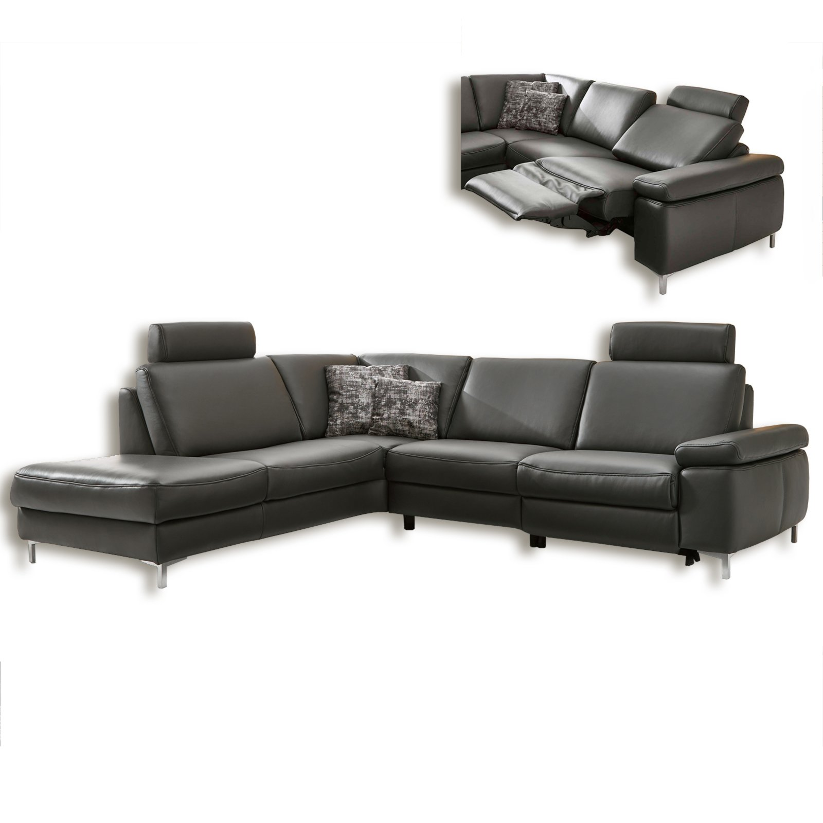 Ledercouch anthrazit  Ledersofa - anthrazit - Wall Away Funtkion - Ottomane links ...