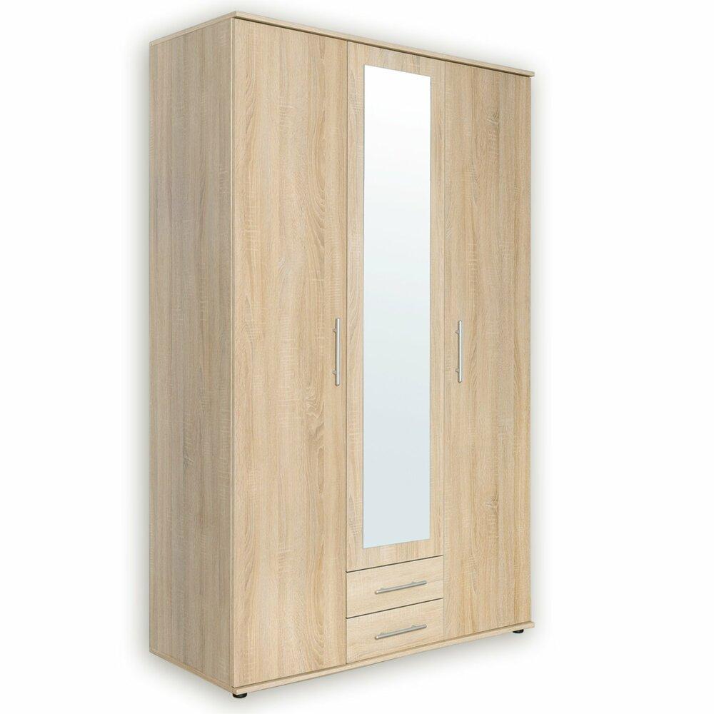 kleiderschrank sonoma eiche eckiger spiegel 120 cm. Black Bedroom Furniture Sets. Home Design Ideas