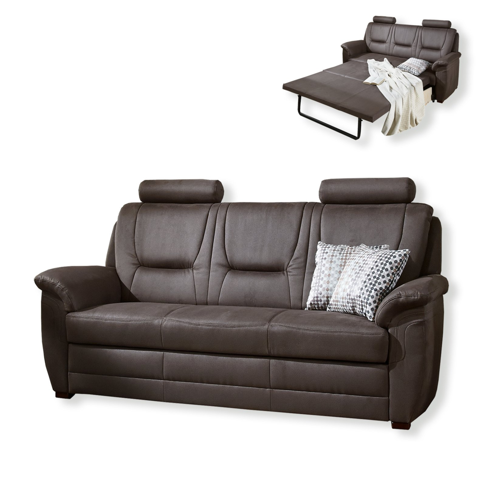 3 sitzer sofa nougat liegefunktion bonellfederkern einzelsofas 2er 3er 4er sofas. Black Bedroom Furniture Sets. Home Design Ideas