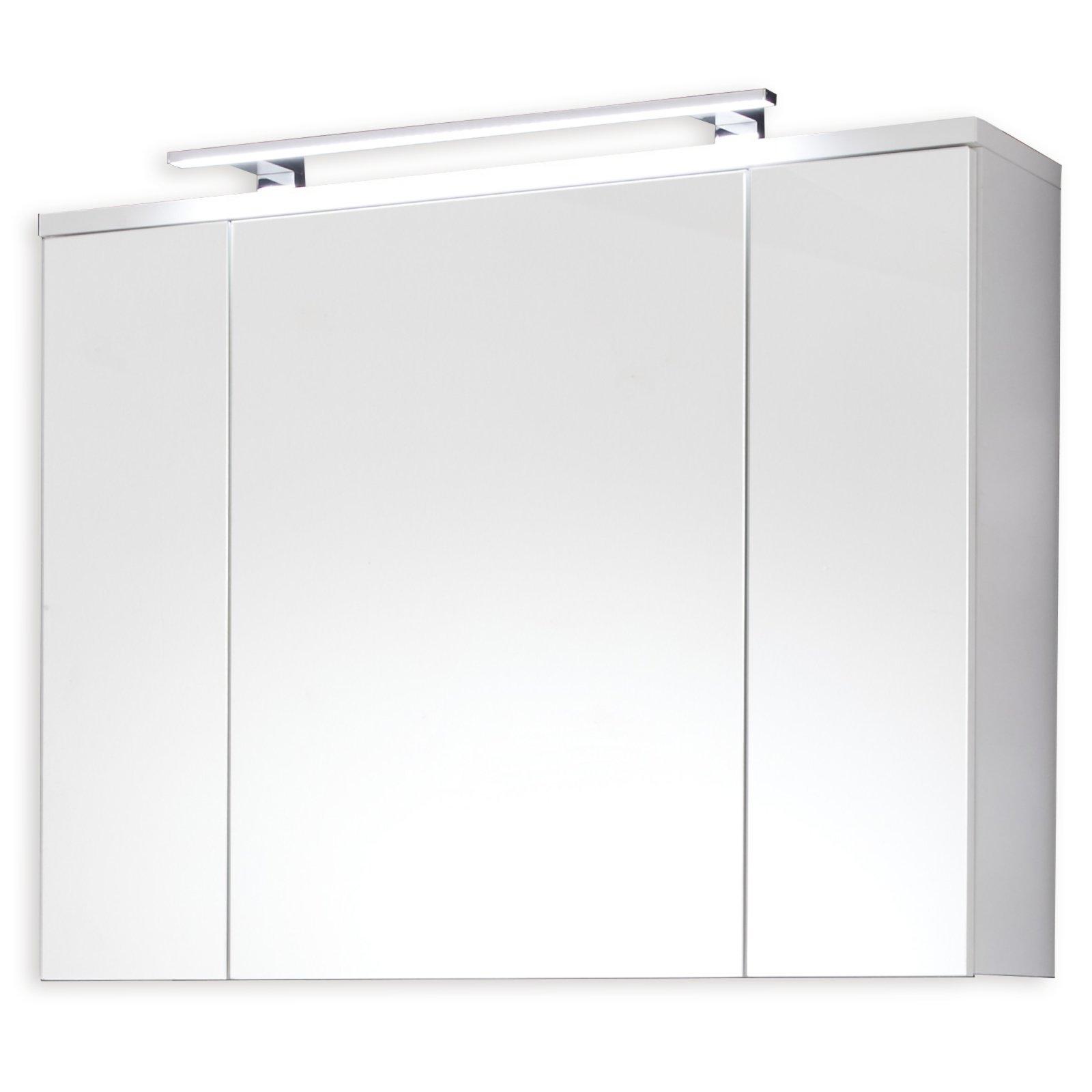 spiegelschrank adamo wei mit beleuchtung spiegelschr nke badm bel badezimmer. Black Bedroom Furniture Sets. Home Design Ideas