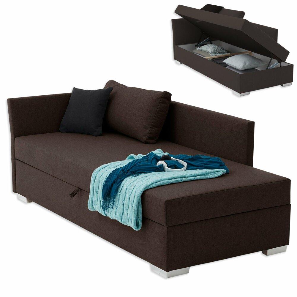 polsterliege havana dunkelbraun 90x200 cm mit staukasten liegen recamieren sofas. Black Bedroom Furniture Sets. Home Design Ideas