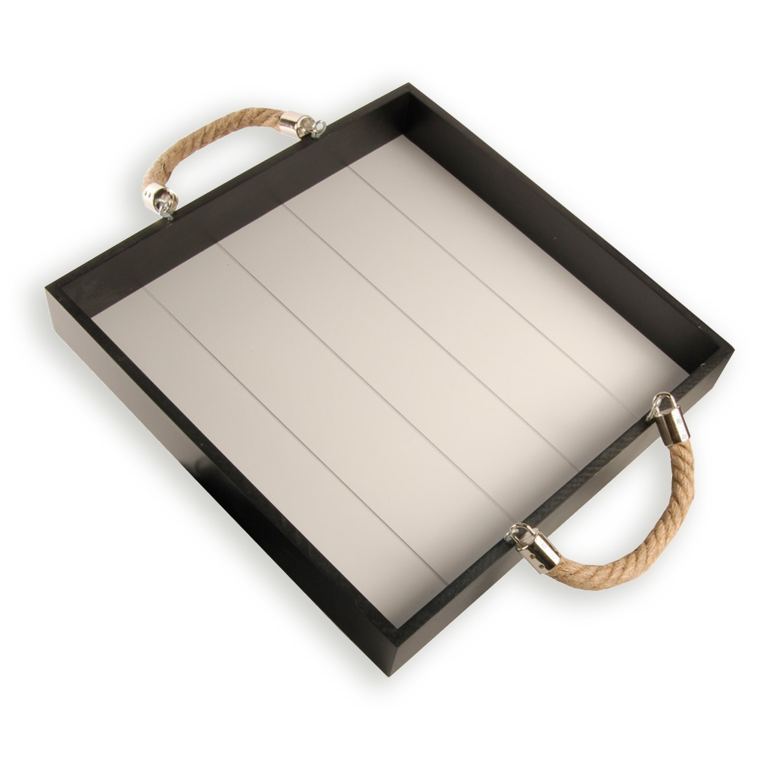 tablett wei schwarz seilgriffe 30x30 cm dekofiguren objekte deko artikel deko. Black Bedroom Furniture Sets. Home Design Ideas