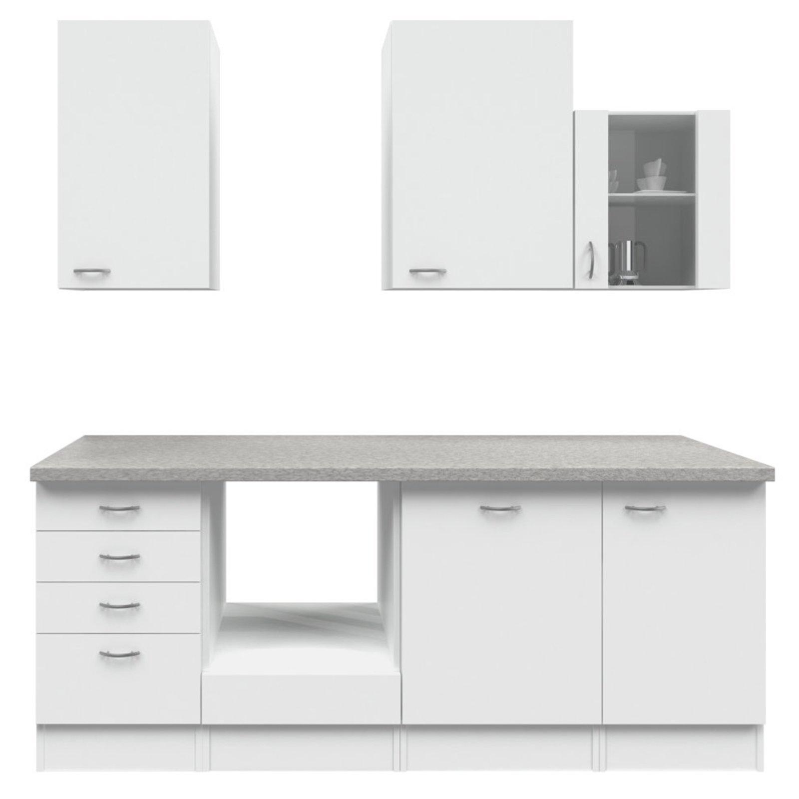 k chenblock wito wei grau 220 cm k chenzeilen ohne e ger te k chenzeilen m bel. Black Bedroom Furniture Sets. Home Design Ideas