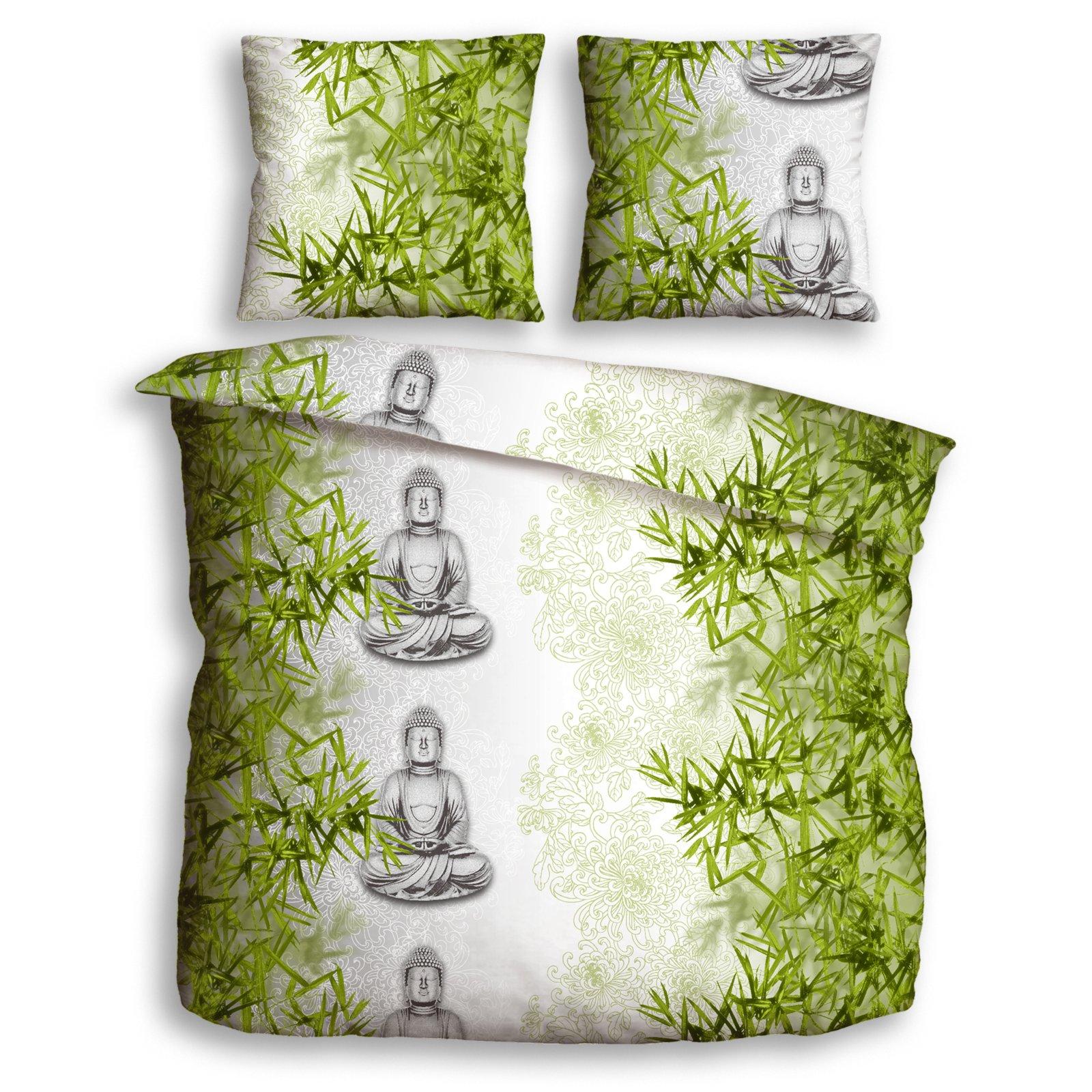 Renforce Bettwasche Buddha Grun Silber 200x200 Cm Bettwasche