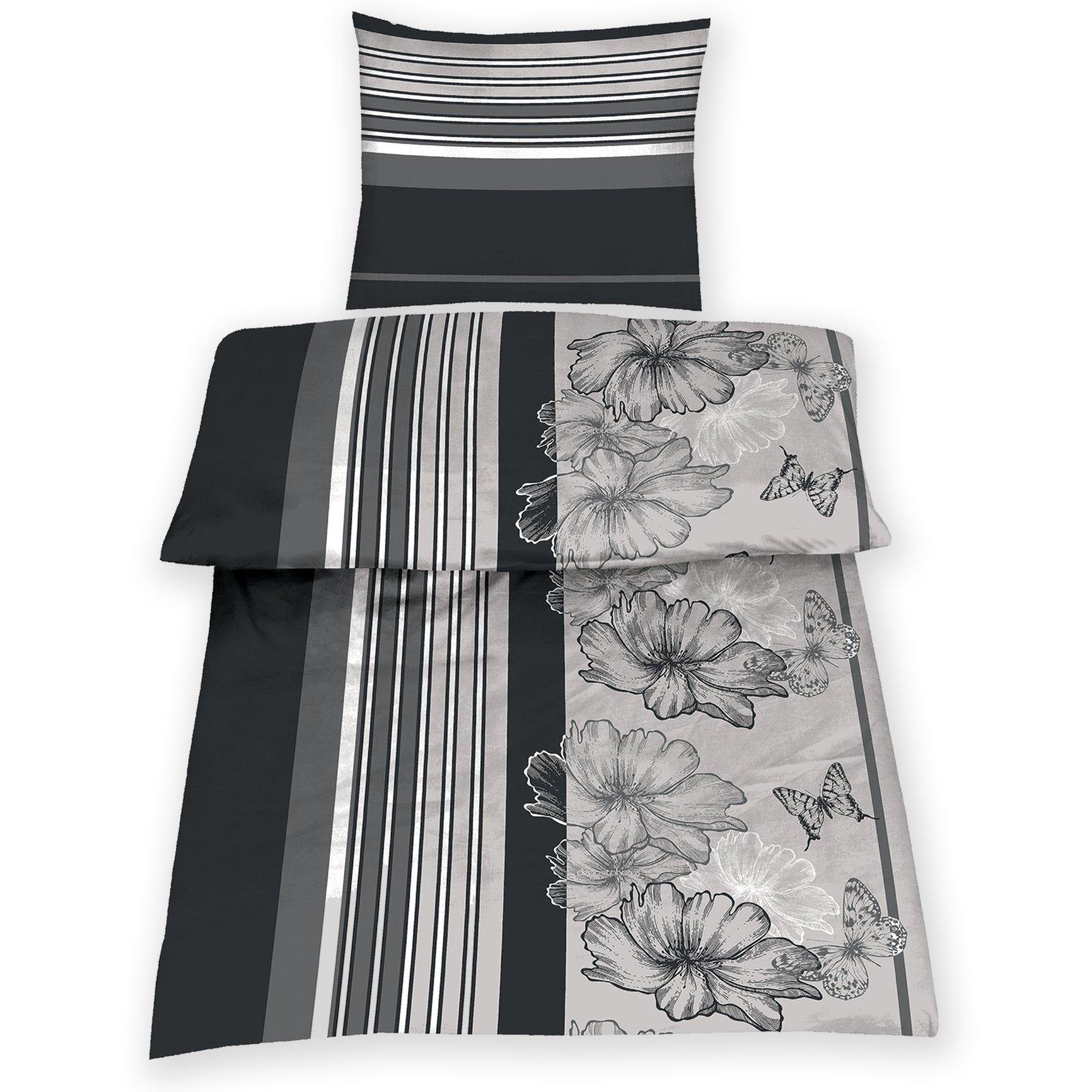 microfaser bettw sche flora schwarz wei grau 135x200 cm bettw sche bettw sche. Black Bedroom Furniture Sets. Home Design Ideas