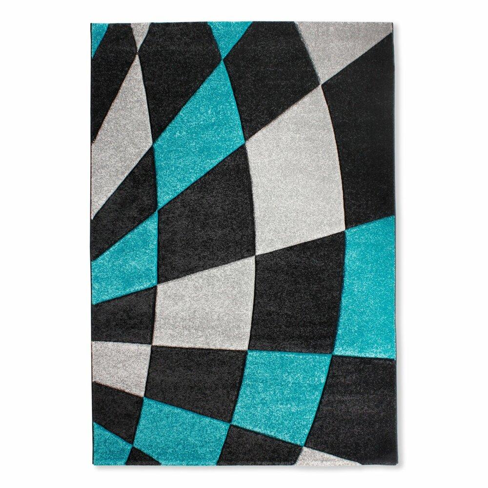 teppich violin schwarz t rkis 120x170 cm gemusterte teppiche teppiche l ufer deko. Black Bedroom Furniture Sets. Home Design Ideas