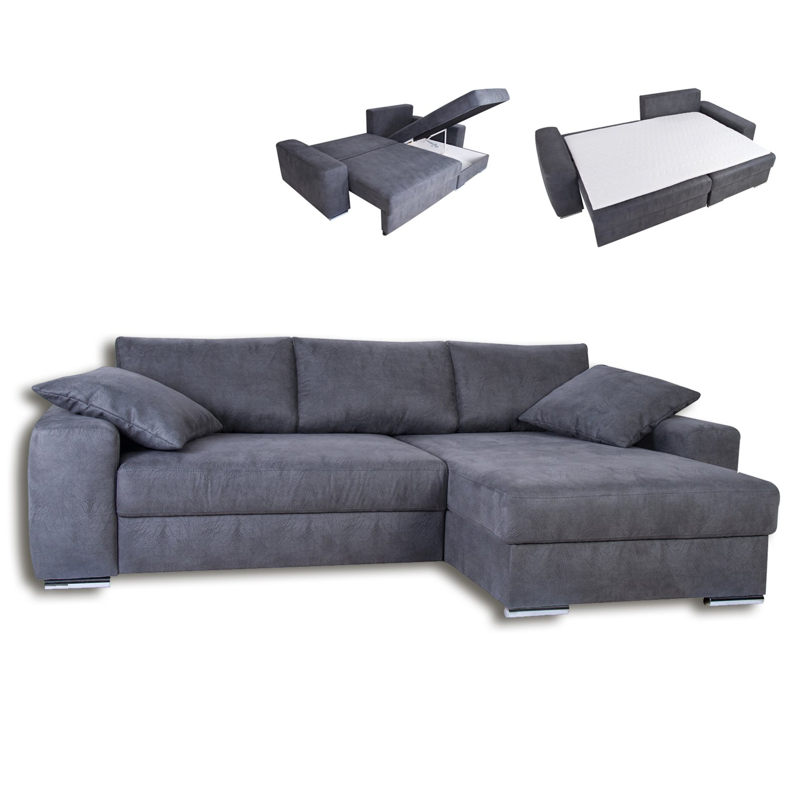 boxspring ecksofa grau liegefunktion ecksofas l form sofas couches m bel roller. Black Bedroom Furniture Sets. Home Design Ideas