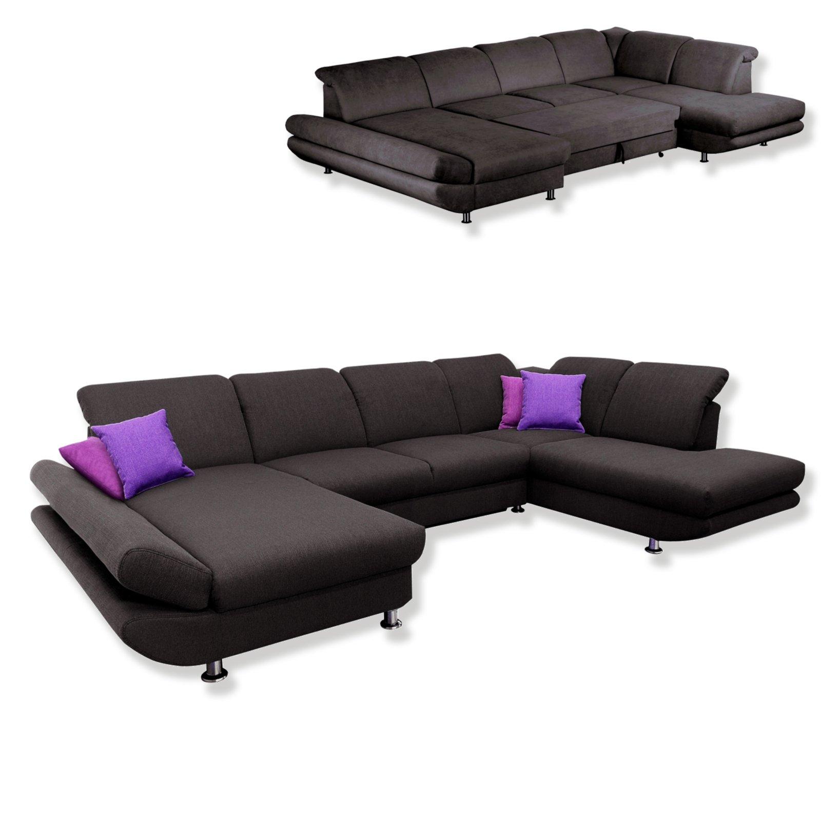 wohnlandschaft braun schwarz liegefunktion ottomane. Black Bedroom Furniture Sets. Home Design Ideas