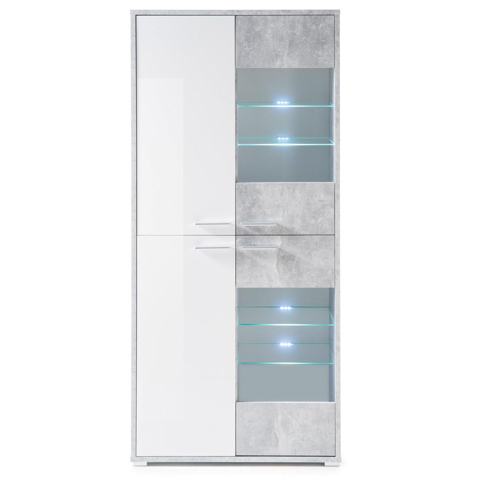 vitrine mountain betonoptik wei 90 cm wohnprogramm mountain wohnprogramme wohnzimmer. Black Bedroom Furniture Sets. Home Design Ideas
