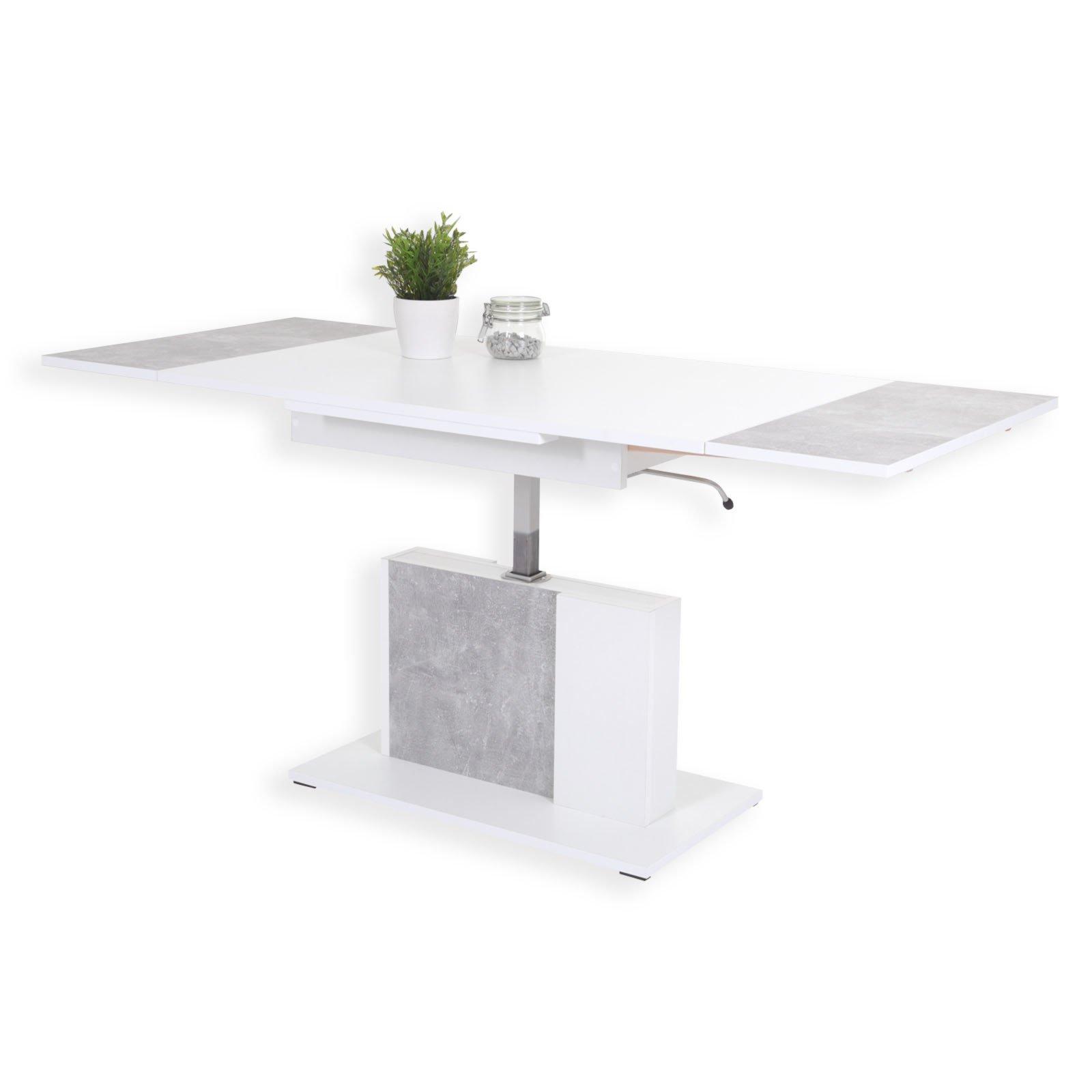 couchtisch linus wei betonoptik h henverstellbar ausziehbar ebay. Black Bedroom Furniture Sets. Home Design Ideas