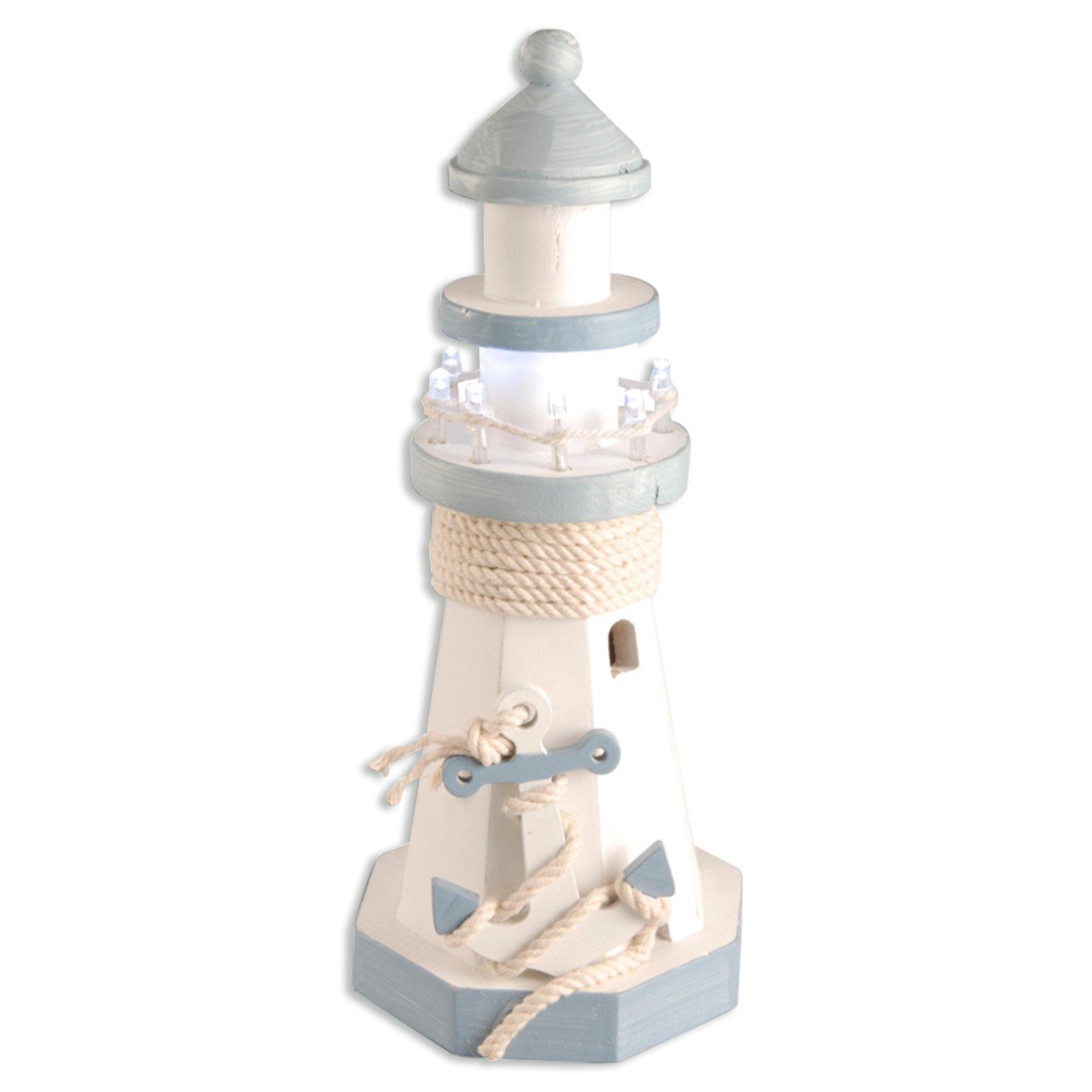 LED-Leuchtturm - Kiefer - weiß-blau - 25 cm hoch | ROLLER Möbelhaus