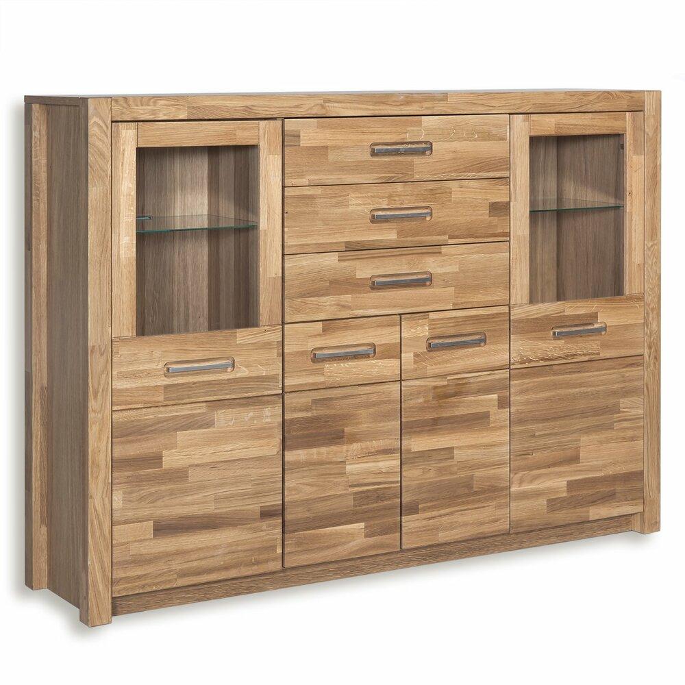 highboard fenja wildeiche massiv mit beleuchtung wohnwand fenja wohnwand elemente. Black Bedroom Furniture Sets. Home Design Ideas