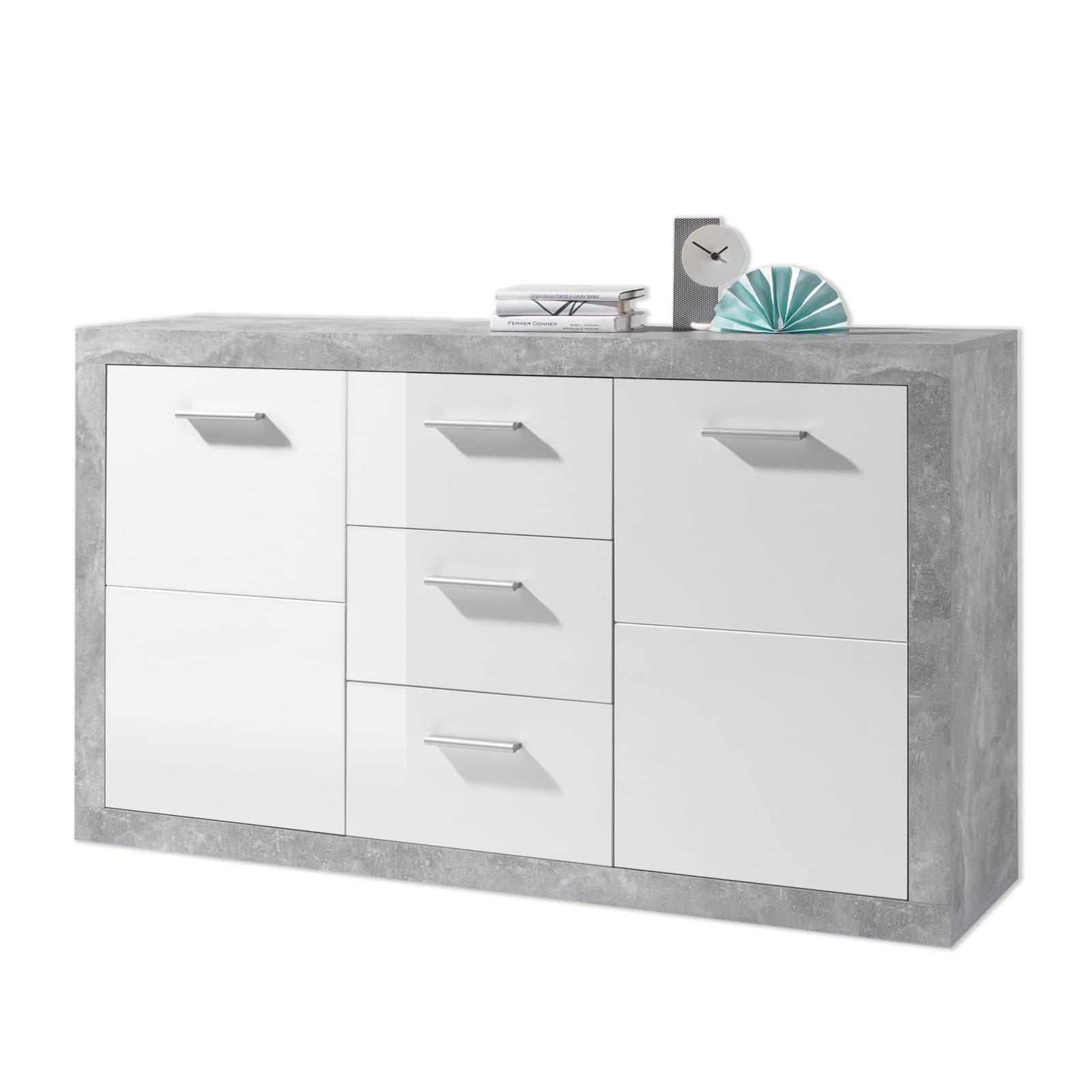 sideboard stone beton optik wei 147 cm breit. Black Bedroom Furniture Sets. Home Design Ideas