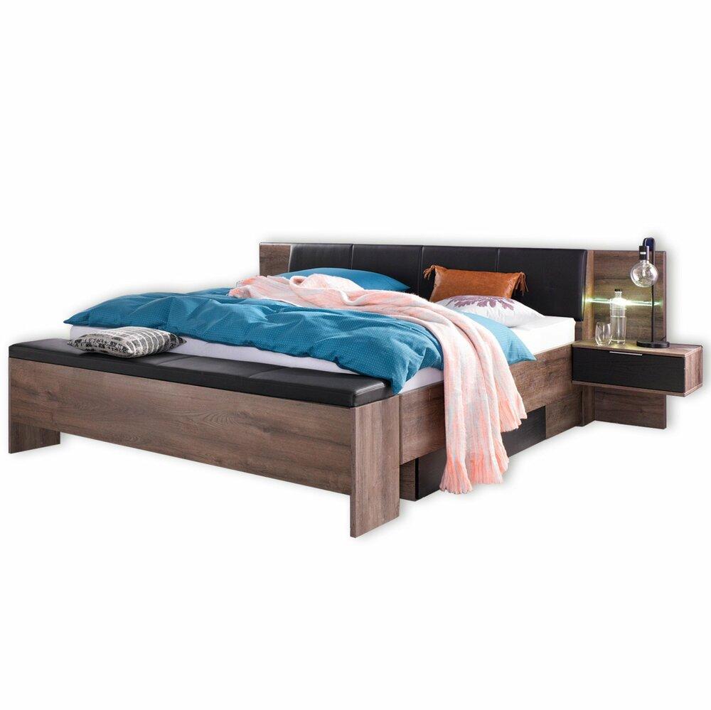 bettanlage virgo schwarzeiche schlammeiche mit beleuchtung 180x200 cm bettgestelle. Black Bedroom Furniture Sets. Home Design Ideas