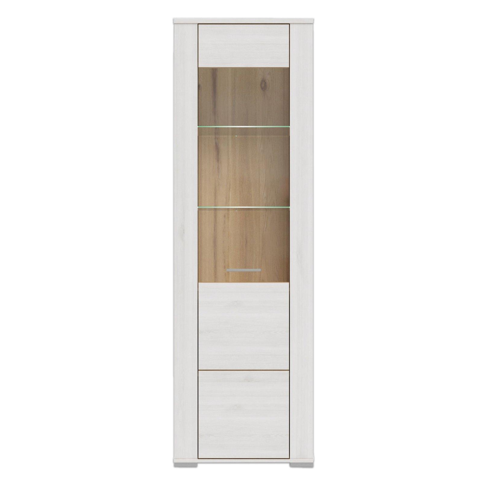 vitrine dany pinie wei eiche 60x196 cm wohnprogramm dany wohnprogramme wohnzimmer. Black Bedroom Furniture Sets. Home Design Ideas