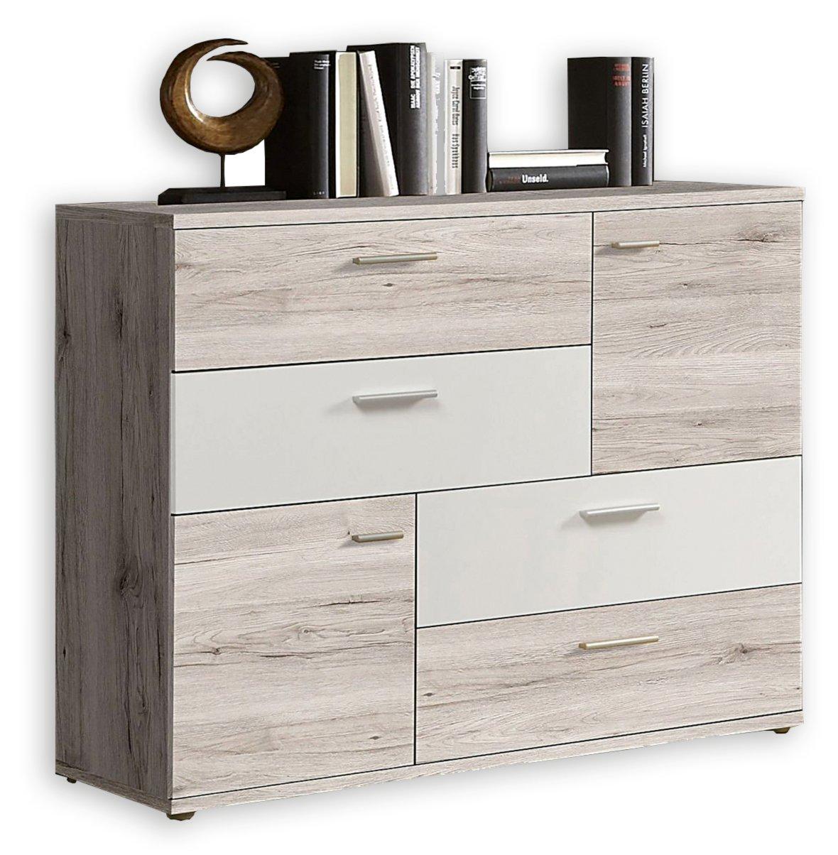 kommode skive sandeiche wei 125 cm kommoden sideboards m bel roller m belhaus. Black Bedroom Furniture Sets. Home Design Ideas