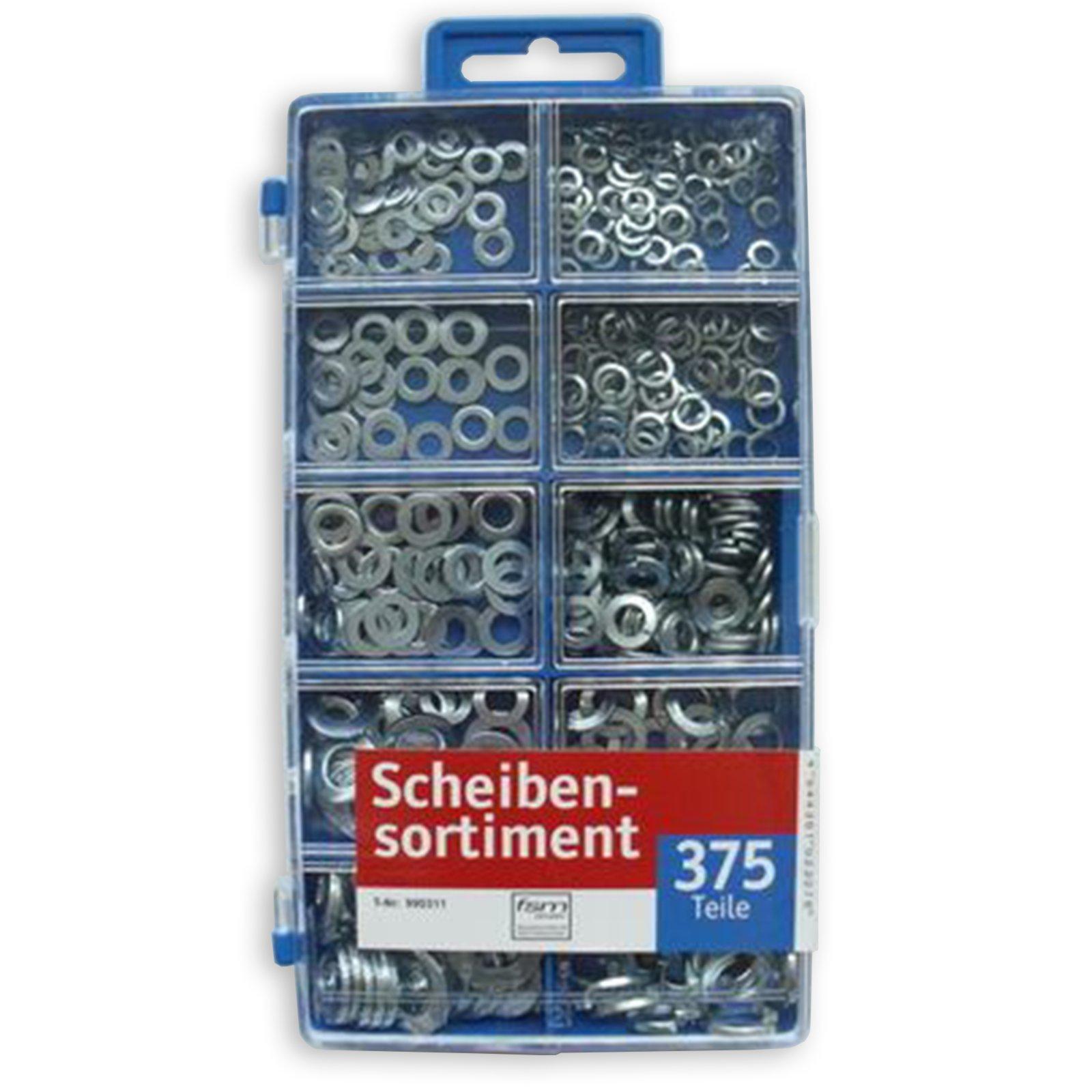 Unterlegscheiben-Sortiment - 375 Teile - verschiedene Größen