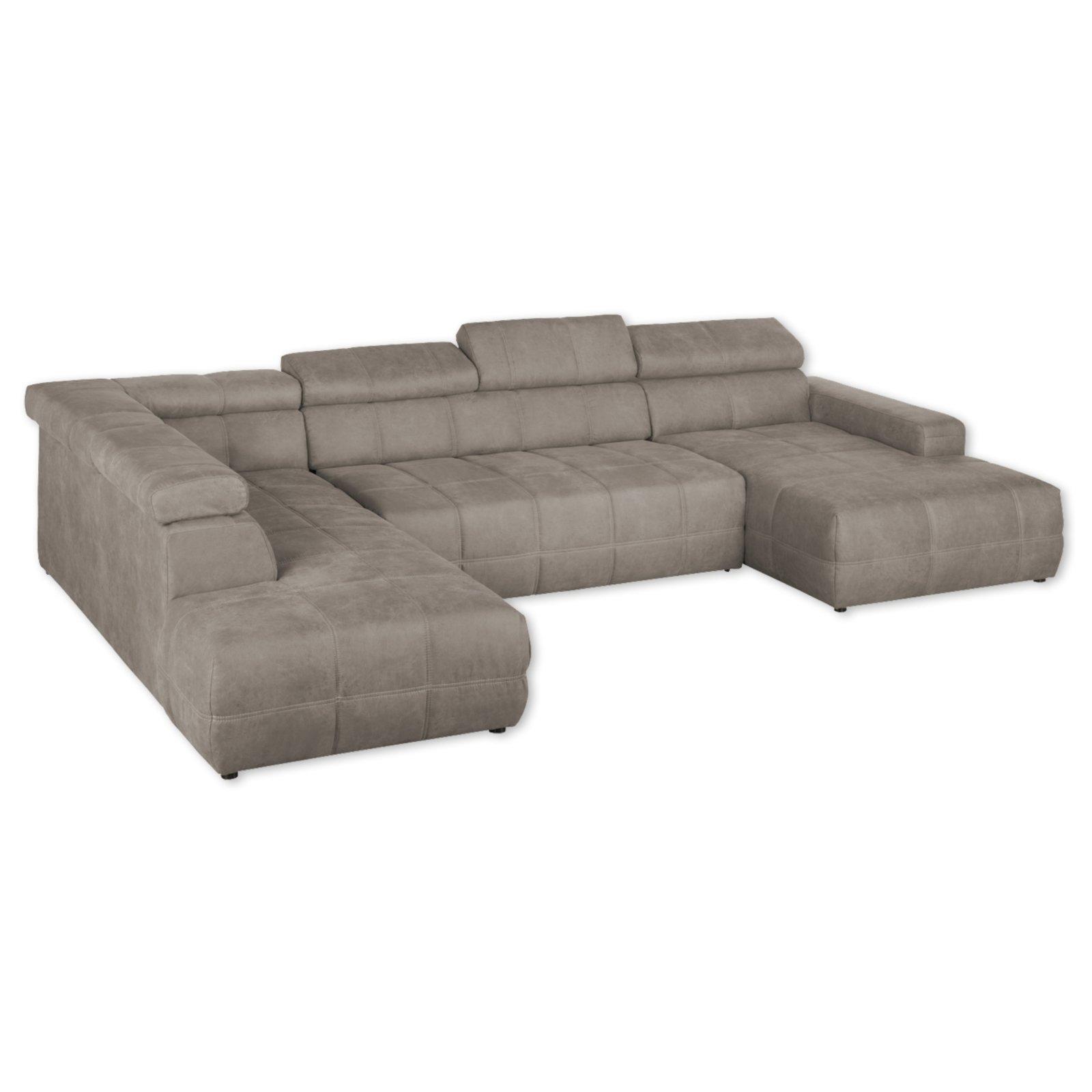 wohnlandschaft taupe r ckenfunktion ottomane links. Black Bedroom Furniture Sets. Home Design Ideas