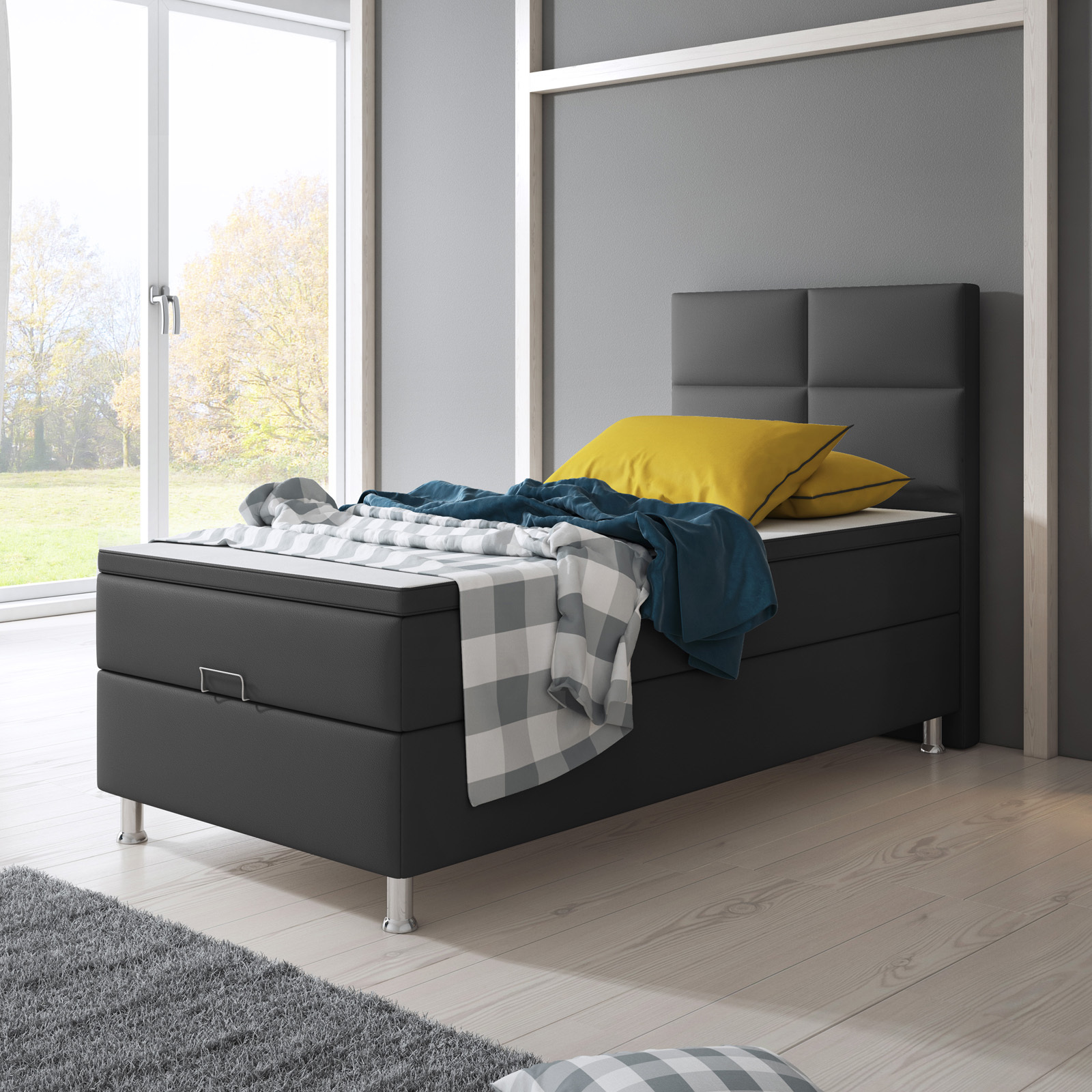 Boxspringbett Design Miami Anthrazit Mit Bettkasten H3 90x200 Cm