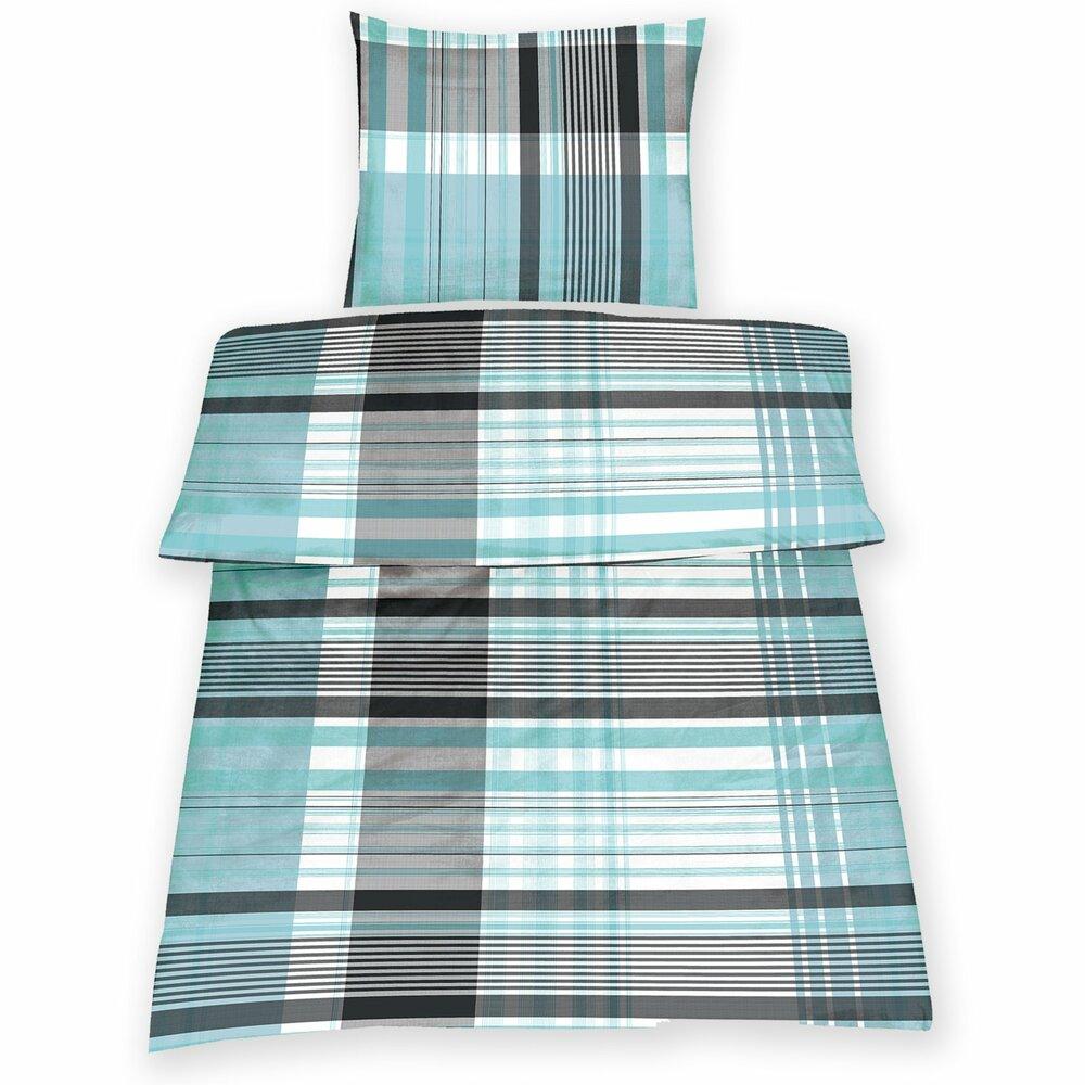 microfaser bettw sche adam schwarz wei t rkis 135x200. Black Bedroom Furniture Sets. Home Design Ideas
