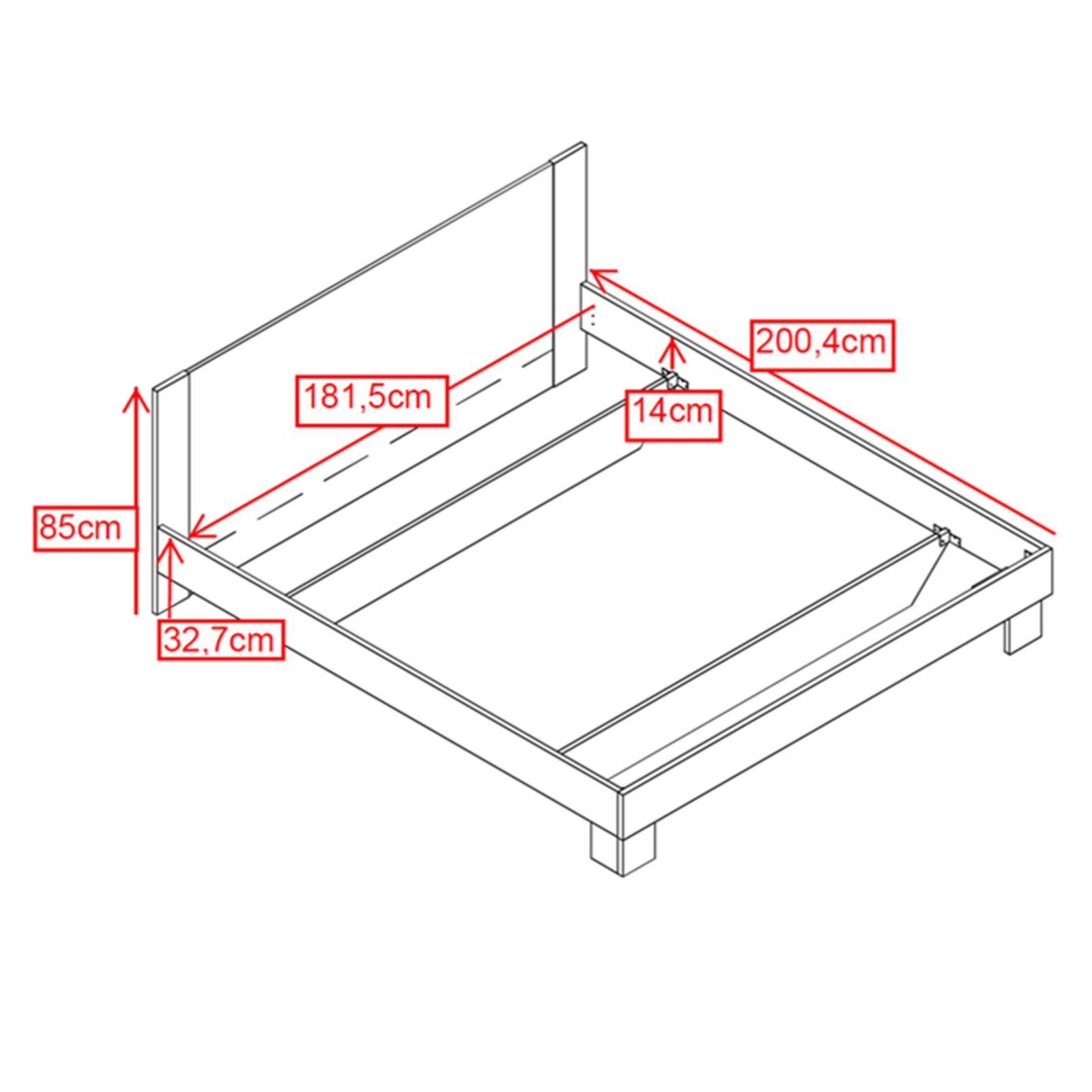 bettanlage helen sonoma eiche wei 180x200 cm ebay. Black Bedroom Furniture Sets. Home Design Ideas