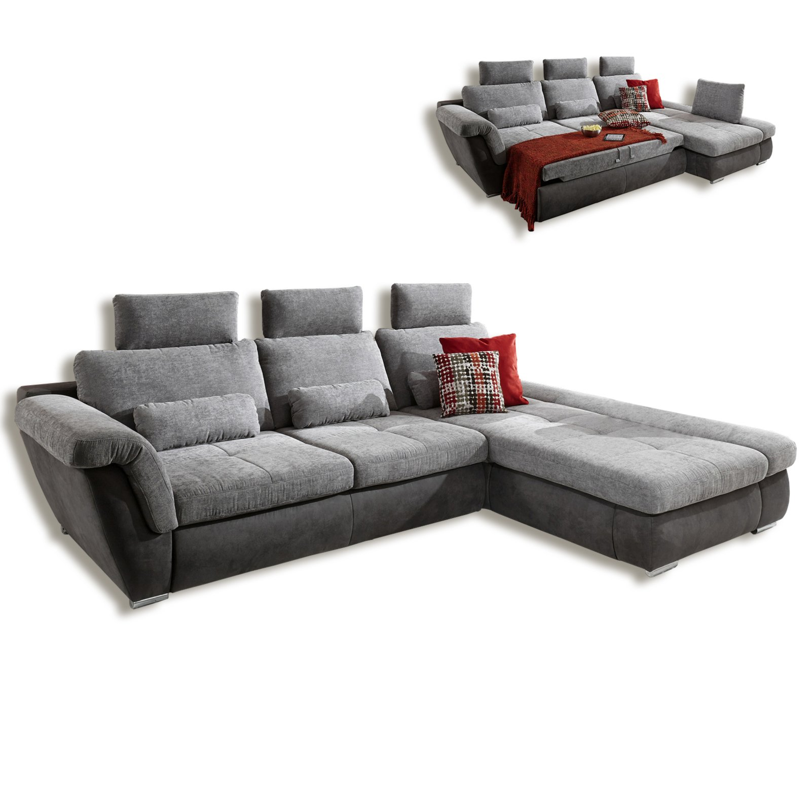 ecksofa grau anthrazit mit funktionen ecksofas l. Black Bedroom Furniture Sets. Home Design Ideas