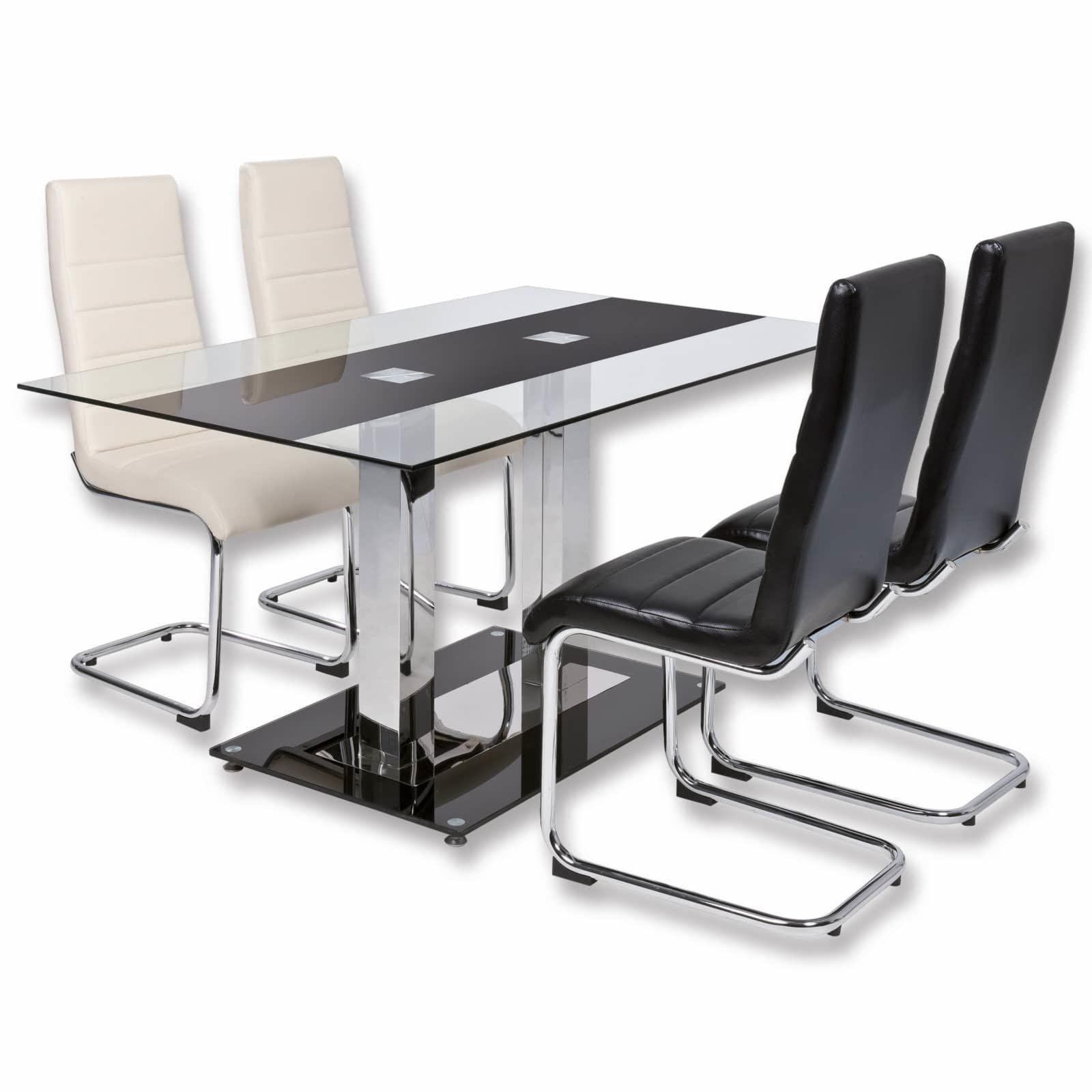 esstisch anja schwarz sicherheitsglas ebay. Black Bedroom Furniture Sets. Home Design Ideas