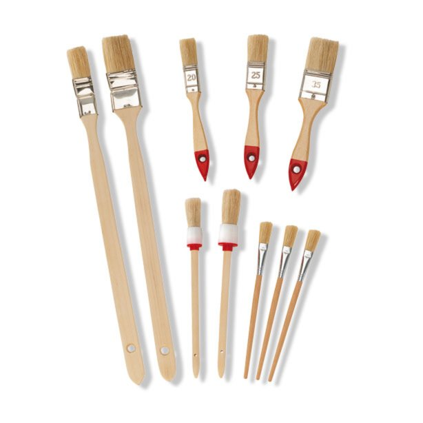 10-teiliges Pinsel-Set - Holzstiel